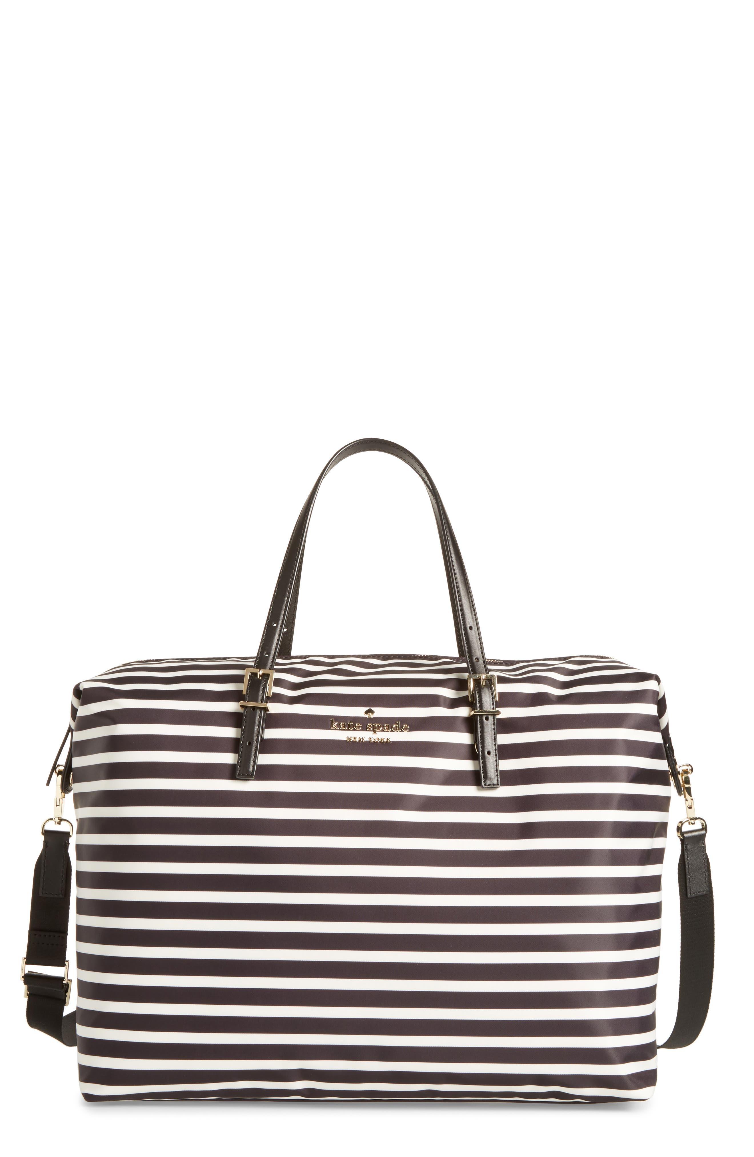 watson lane lyla stripe nylon tote,                         Main,                         color, Black/ Clotted Cream