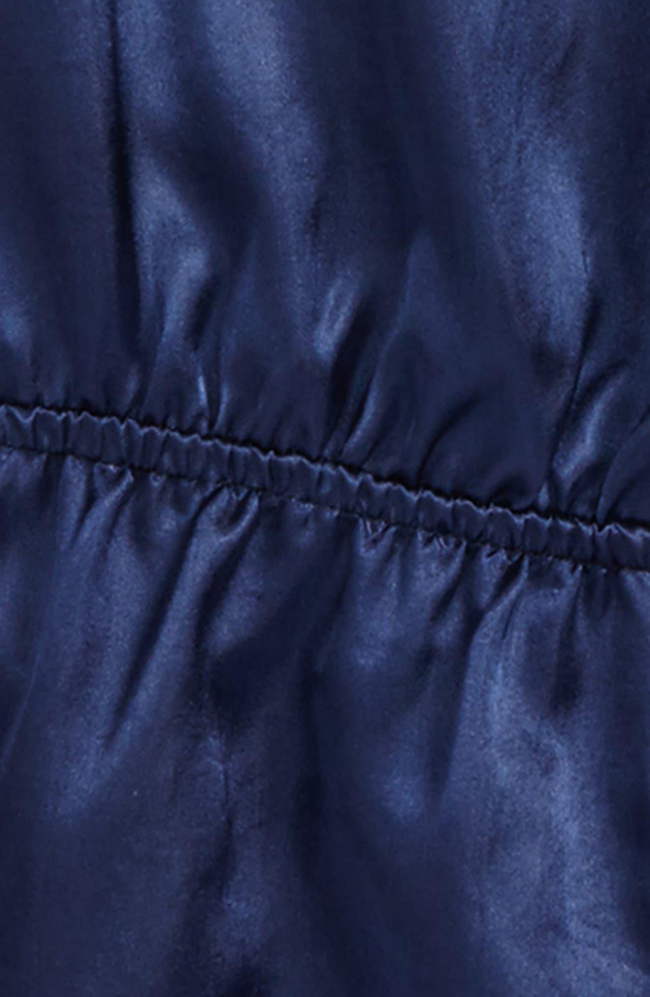 Lace Sleeve Satin Romper,                             Alternate thumbnail 2, color,                             Navy