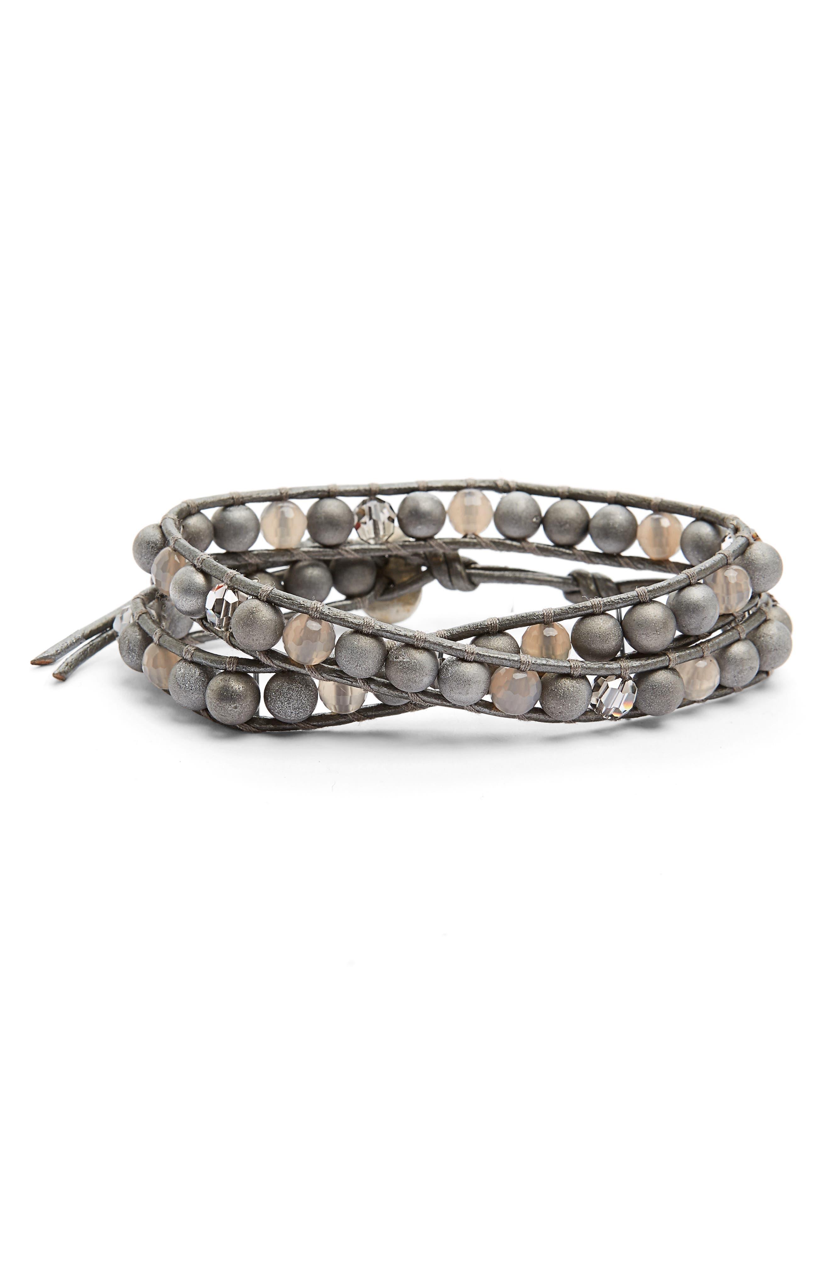 Silver Agate & Crystal Wrap Bracelet,                         Main,                         color, Silver Agate