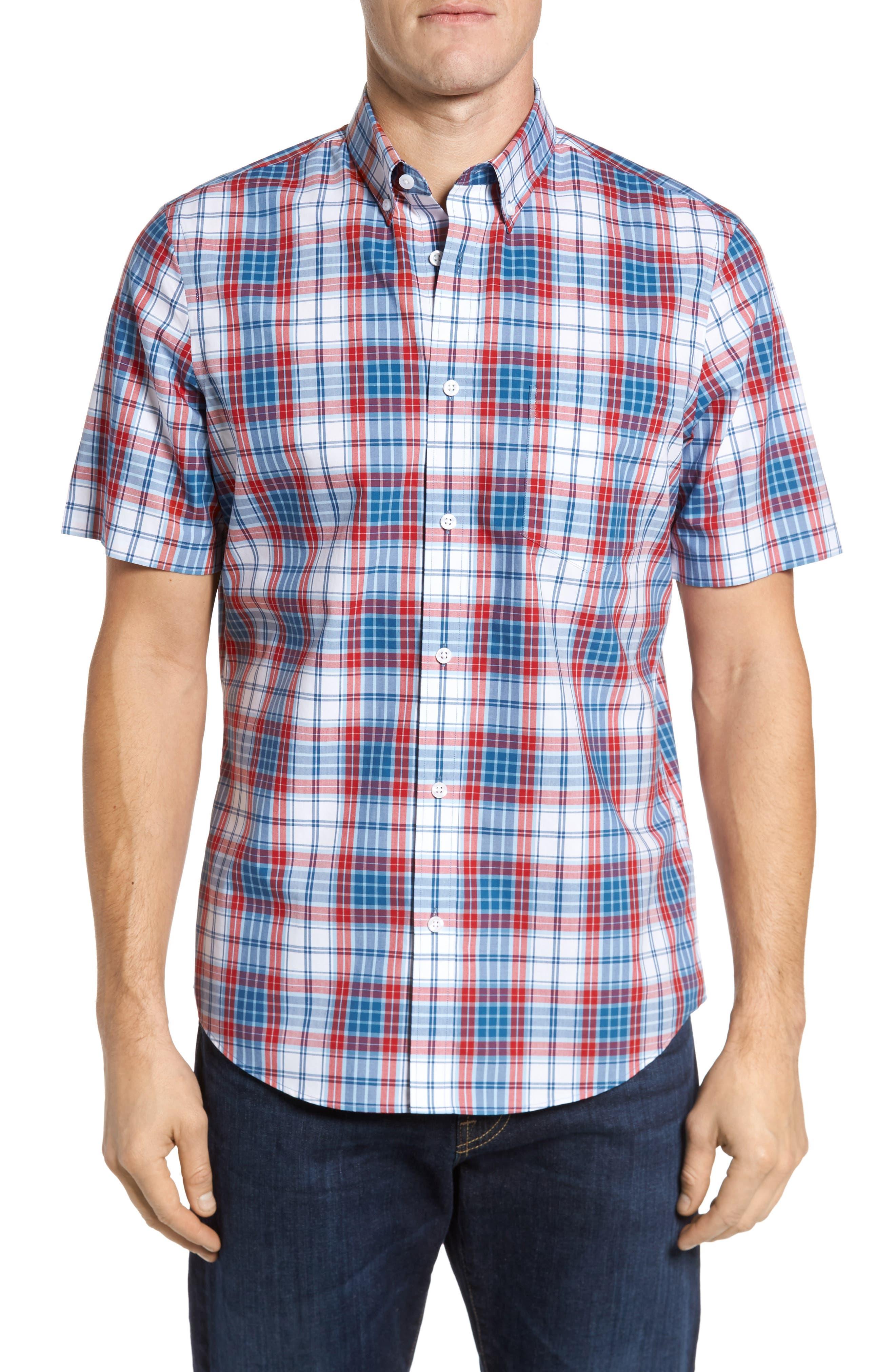 Smartcare<sup>™</sup> Regular Fit Plaid Sport Shirt,                         Main,                         color, White Red Heather Tartan