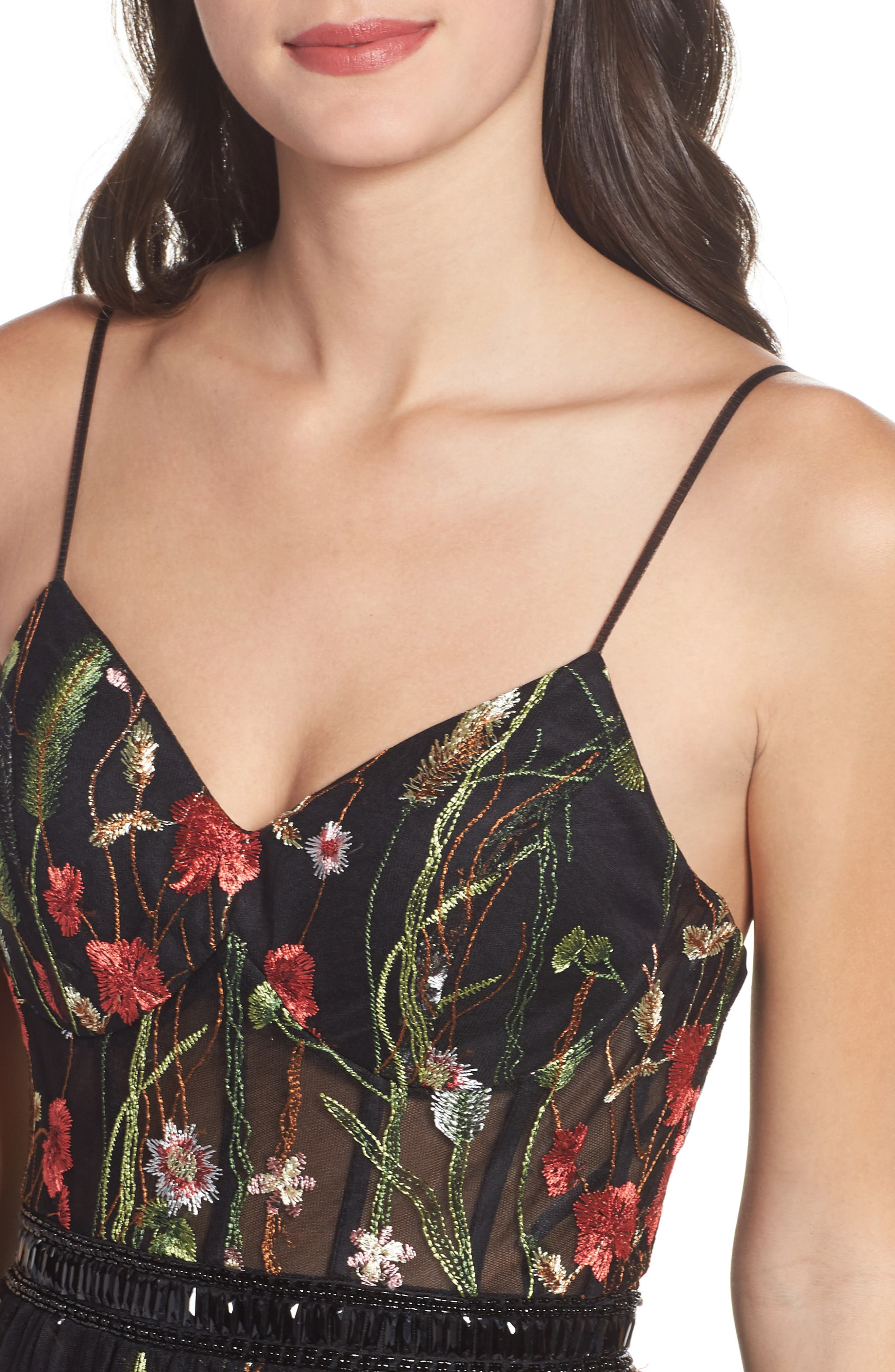 Embroidered Bustier Gown,                             Alternate thumbnail 4, color,                             Black/Multi