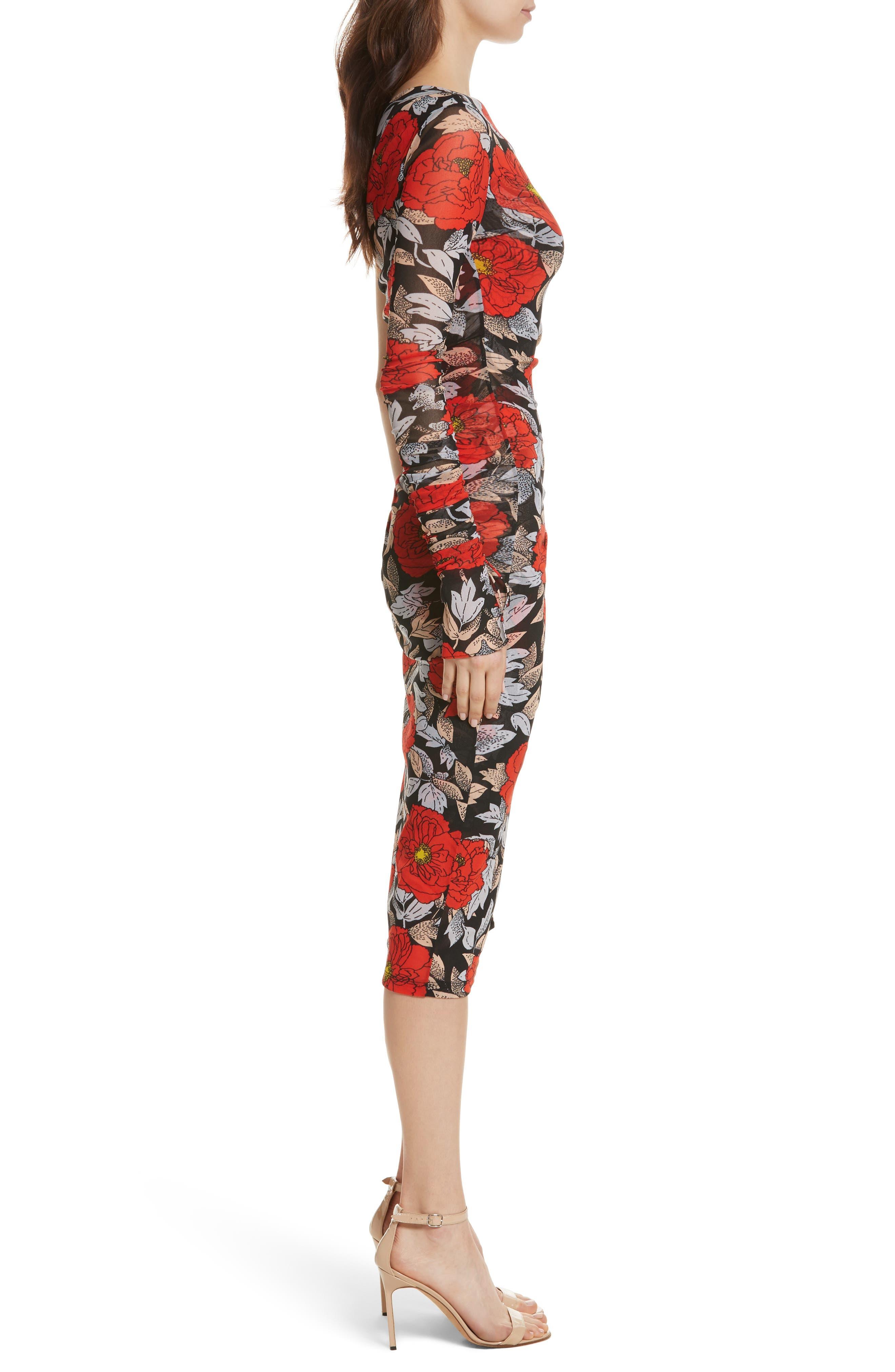 Diane von Furstenberg Ruched One-Shoulder Dress,                             Alternate thumbnail 3, color,                             Boswell Black