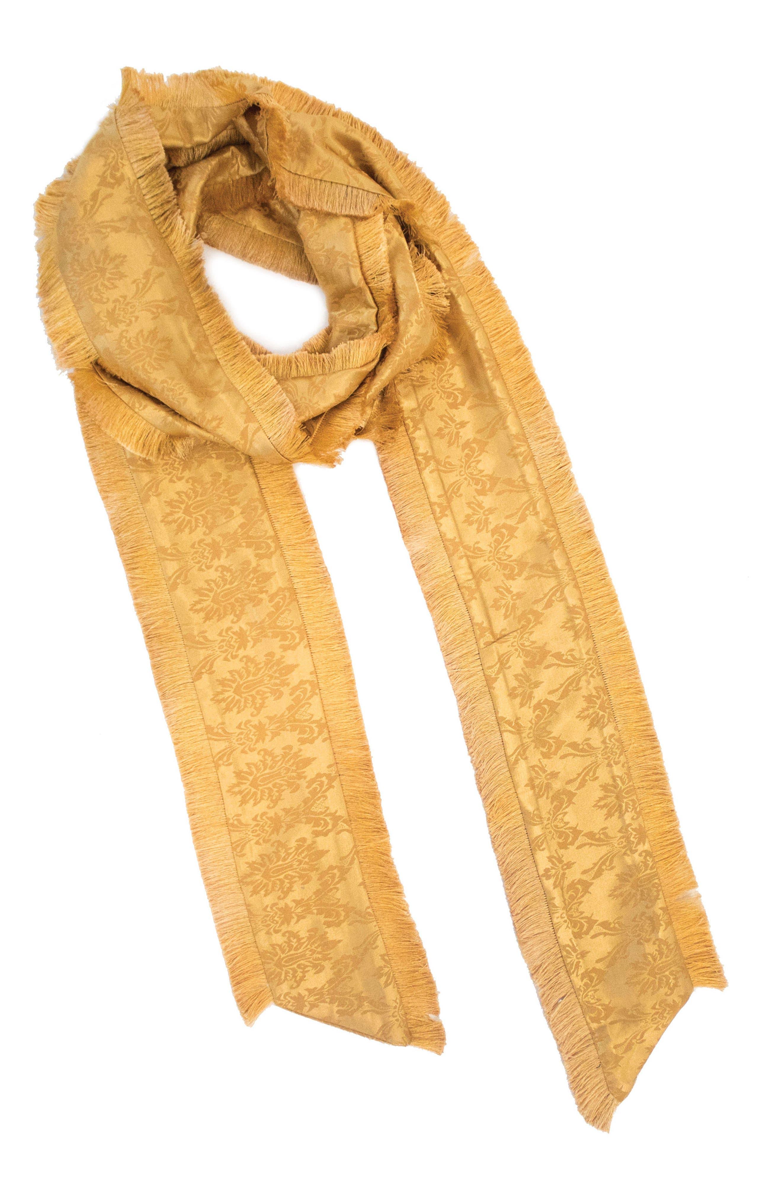 Jacquard Skinny Scarf,                         Main,                         color, Mustard