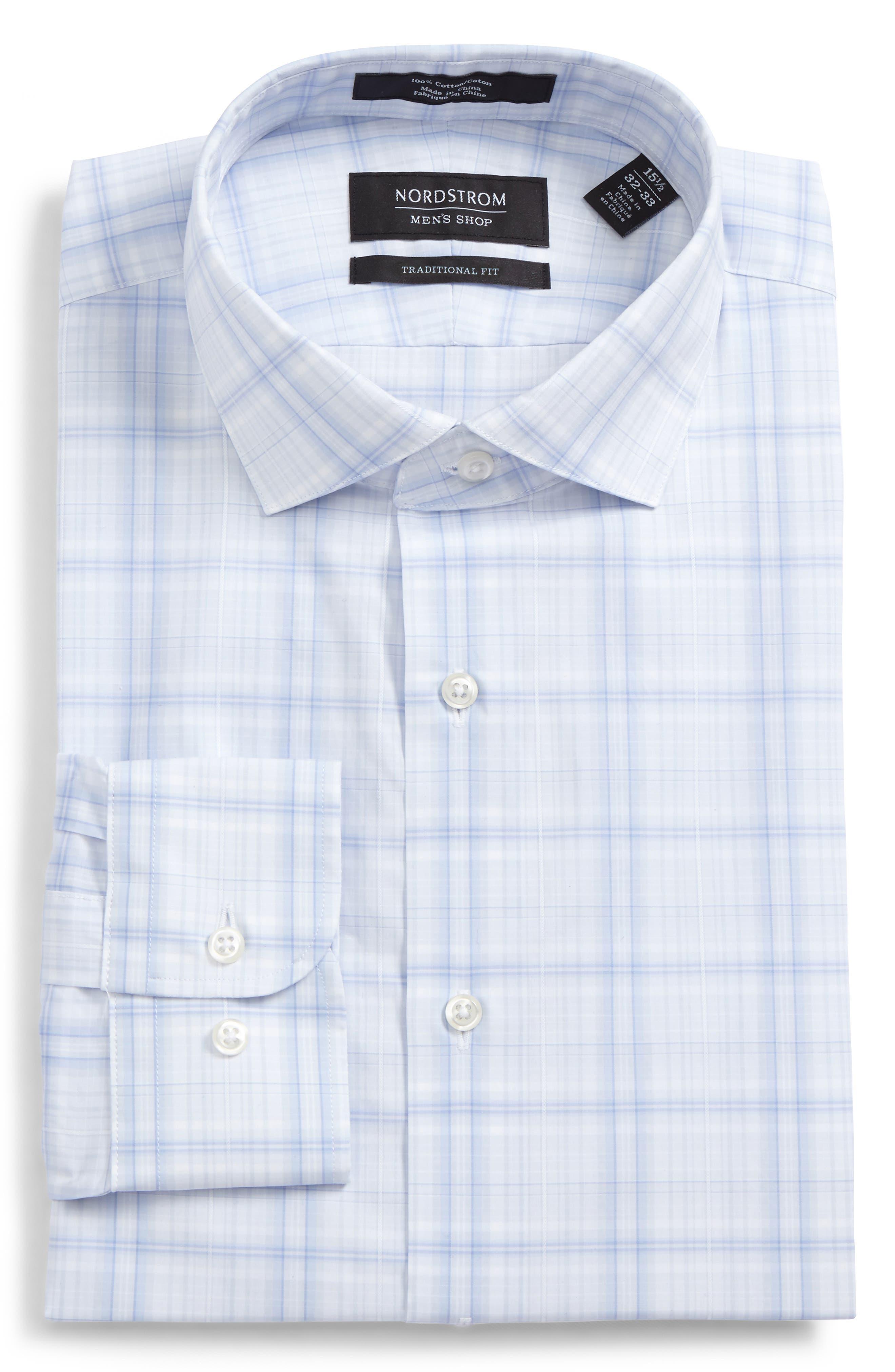 Traditional Fit Check Dress Shirt,                             Alternate thumbnail 6, color,                             Blue Xenon