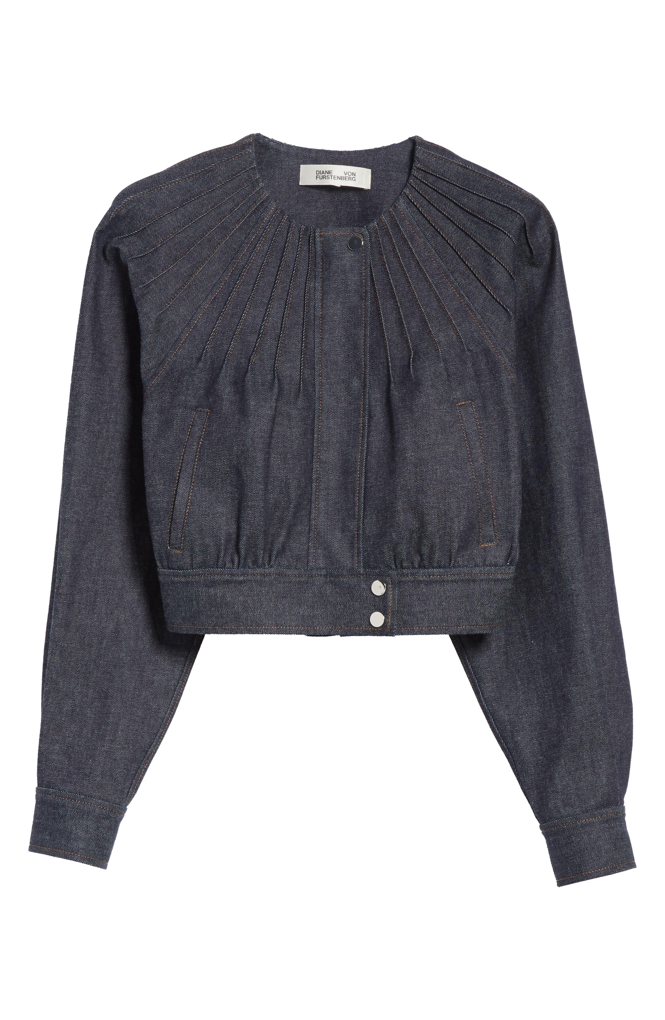 Diane von Furstenberg Pintuck Denim Jacket,                             Alternate thumbnail 7, color,                             Indigo