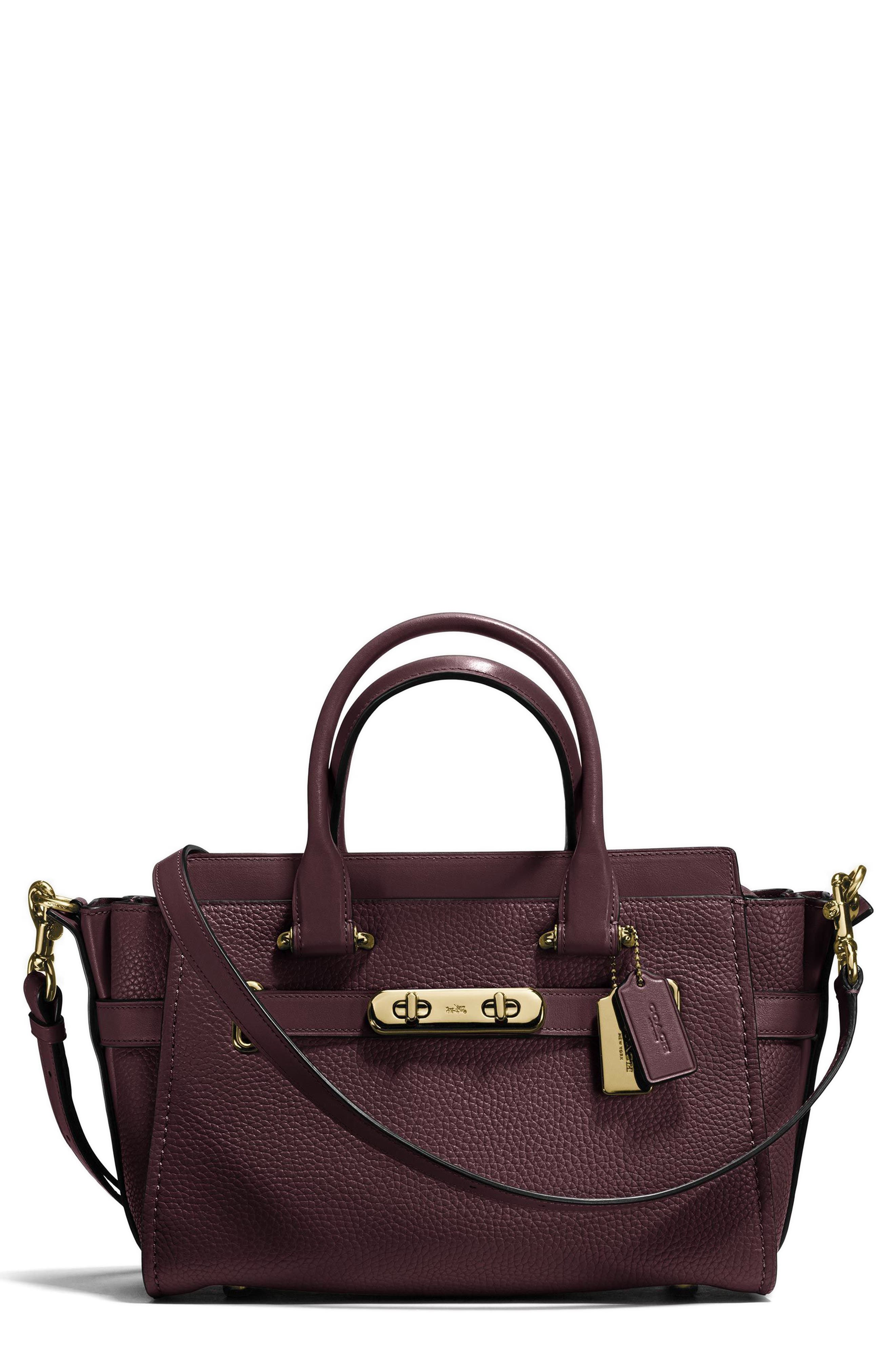 Swagger 27 Calfskin Leather Satchel,                         Main,                         color, Oxblood