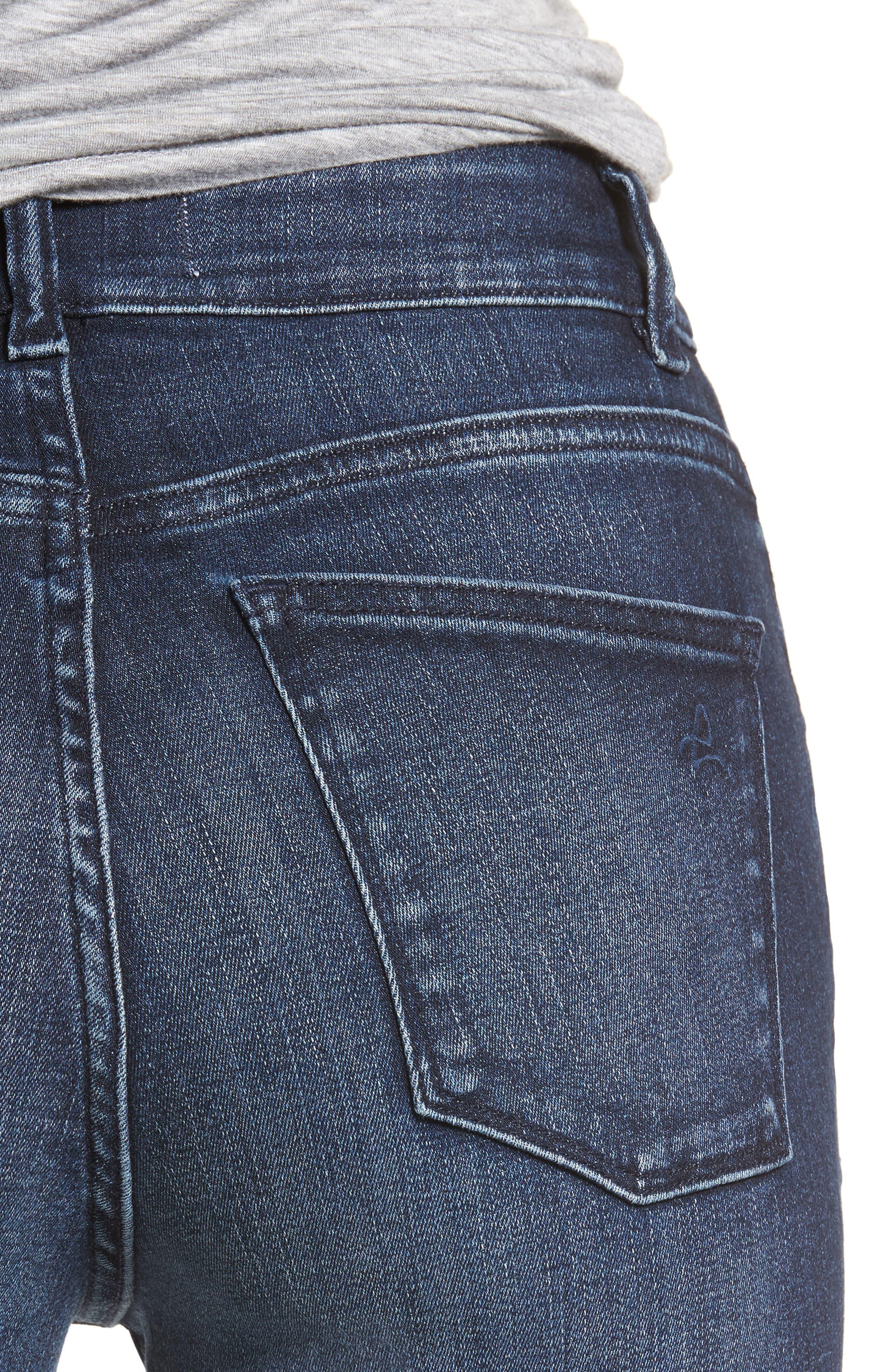Carlie High Waist Ankle Skinny Jeans,                             Alternate thumbnail 4, color,                             Spritz