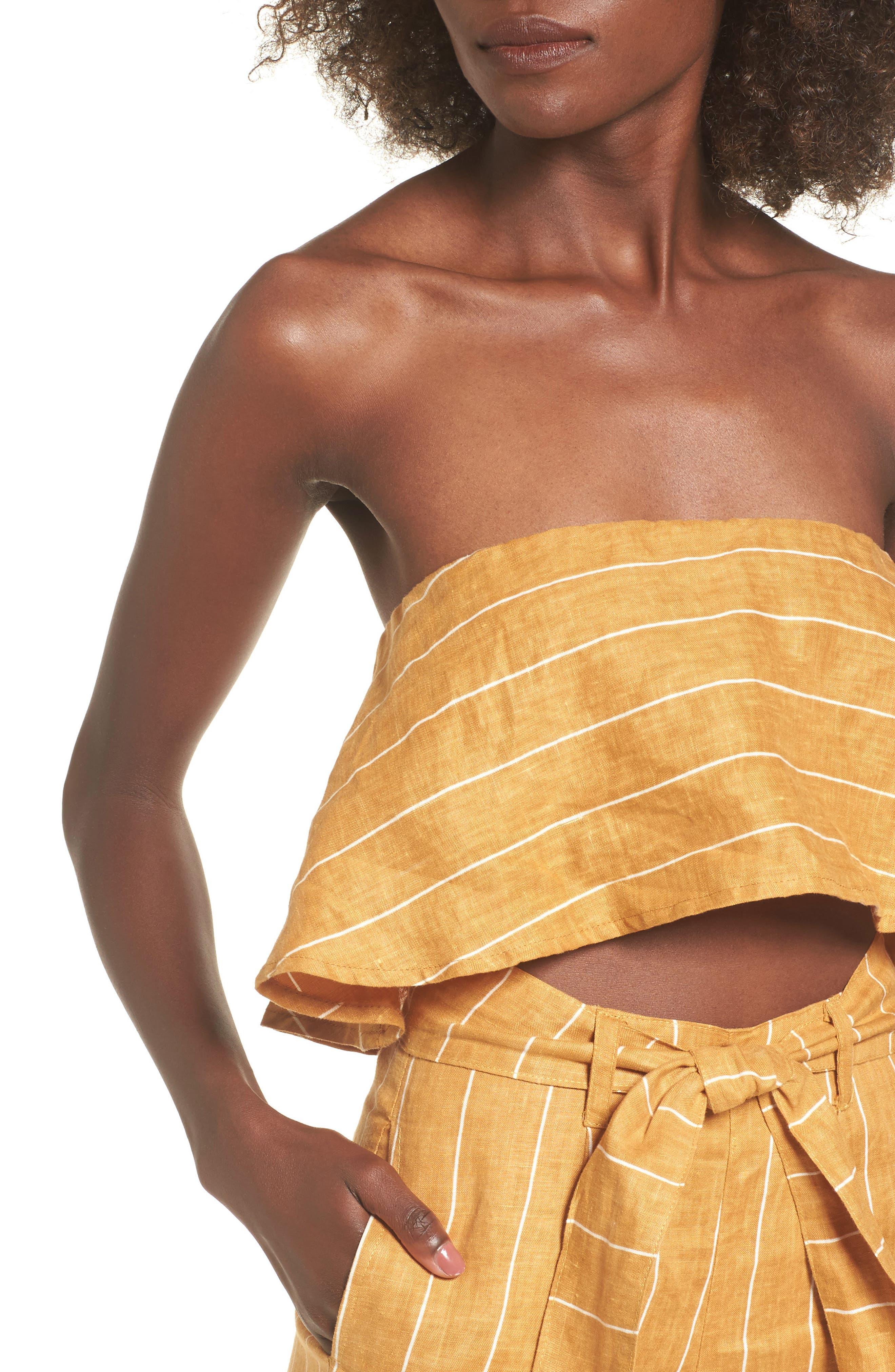 Solana Stripe Strapless Linen Crop Top,                             Alternate thumbnail 4, color,                             Copenhagen Stripe