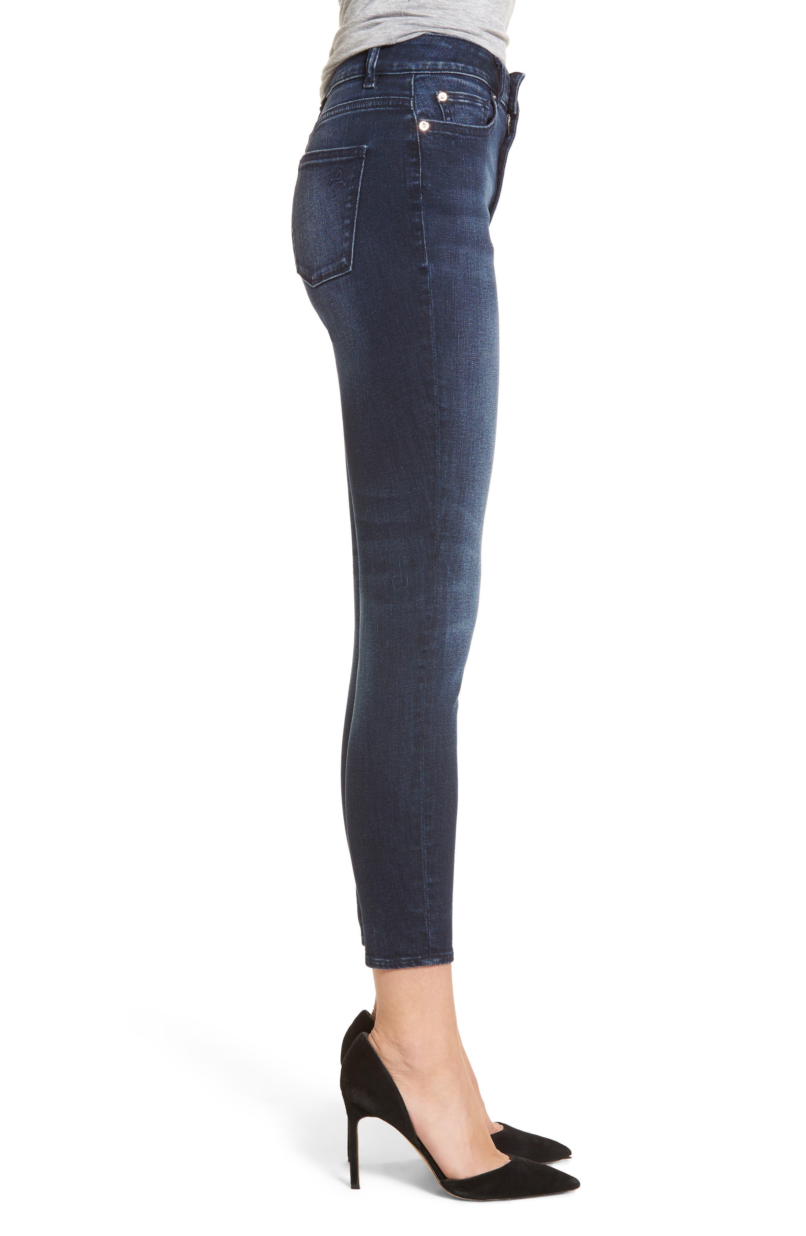 Carlie High Waist Ankle Skinny Jeans,                             Alternate thumbnail 3, color,                             Spritz