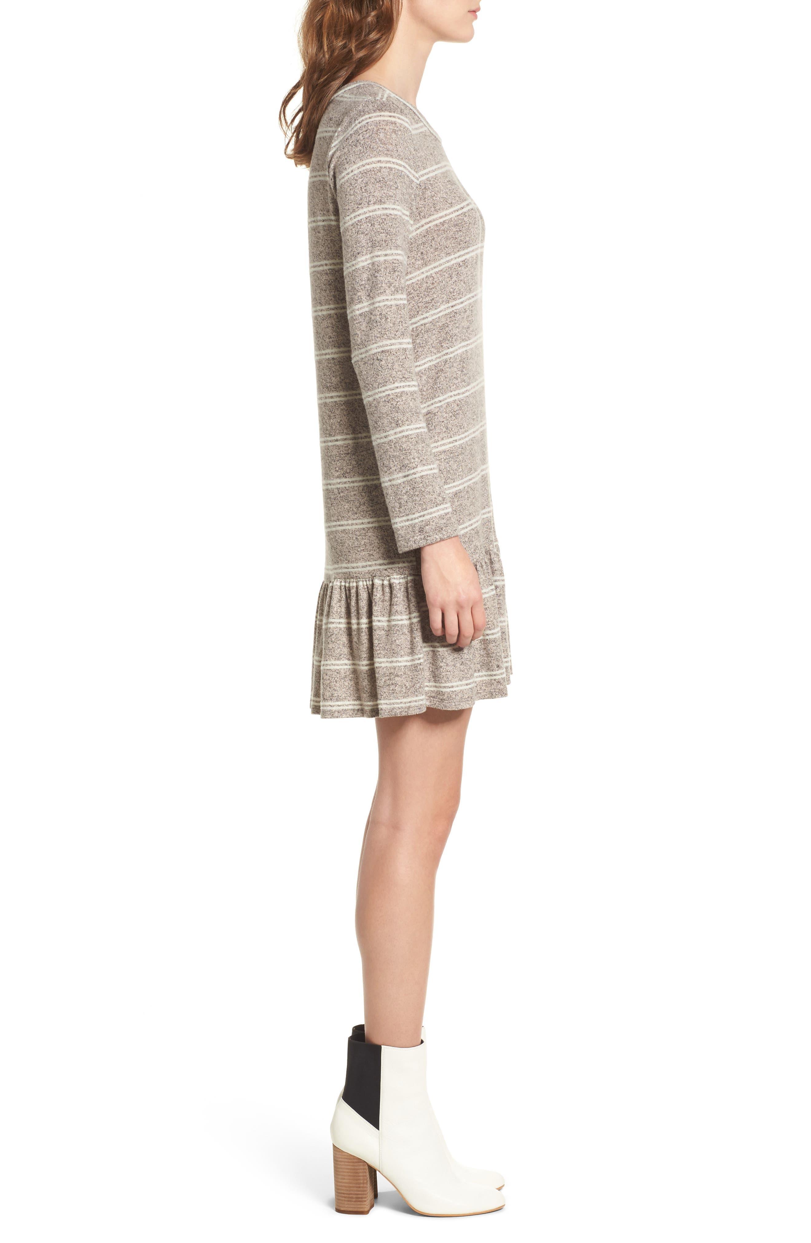 Drop Waist Sweater Dress,                             Alternate thumbnail 3, color,                             Grey/ Ivory
