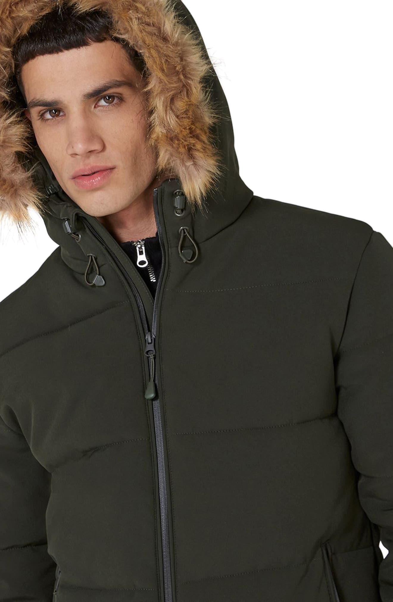Maguire Faux Fur Trim Puffer Jacket,                             Alternate thumbnail 3, color,                             Green