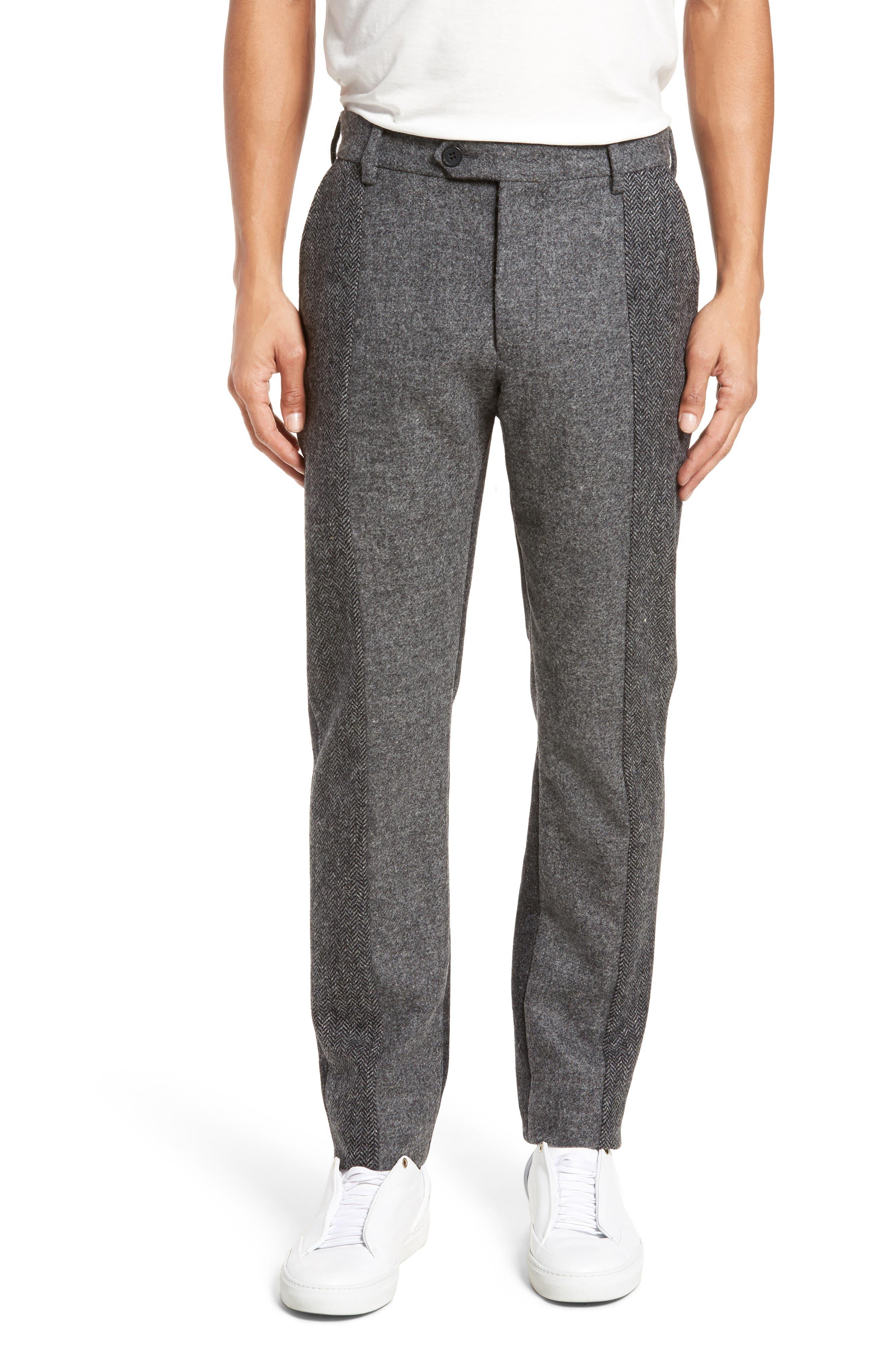 Patchwork Wool Trousers,                             Main thumbnail 1, color,                             Grey Melange