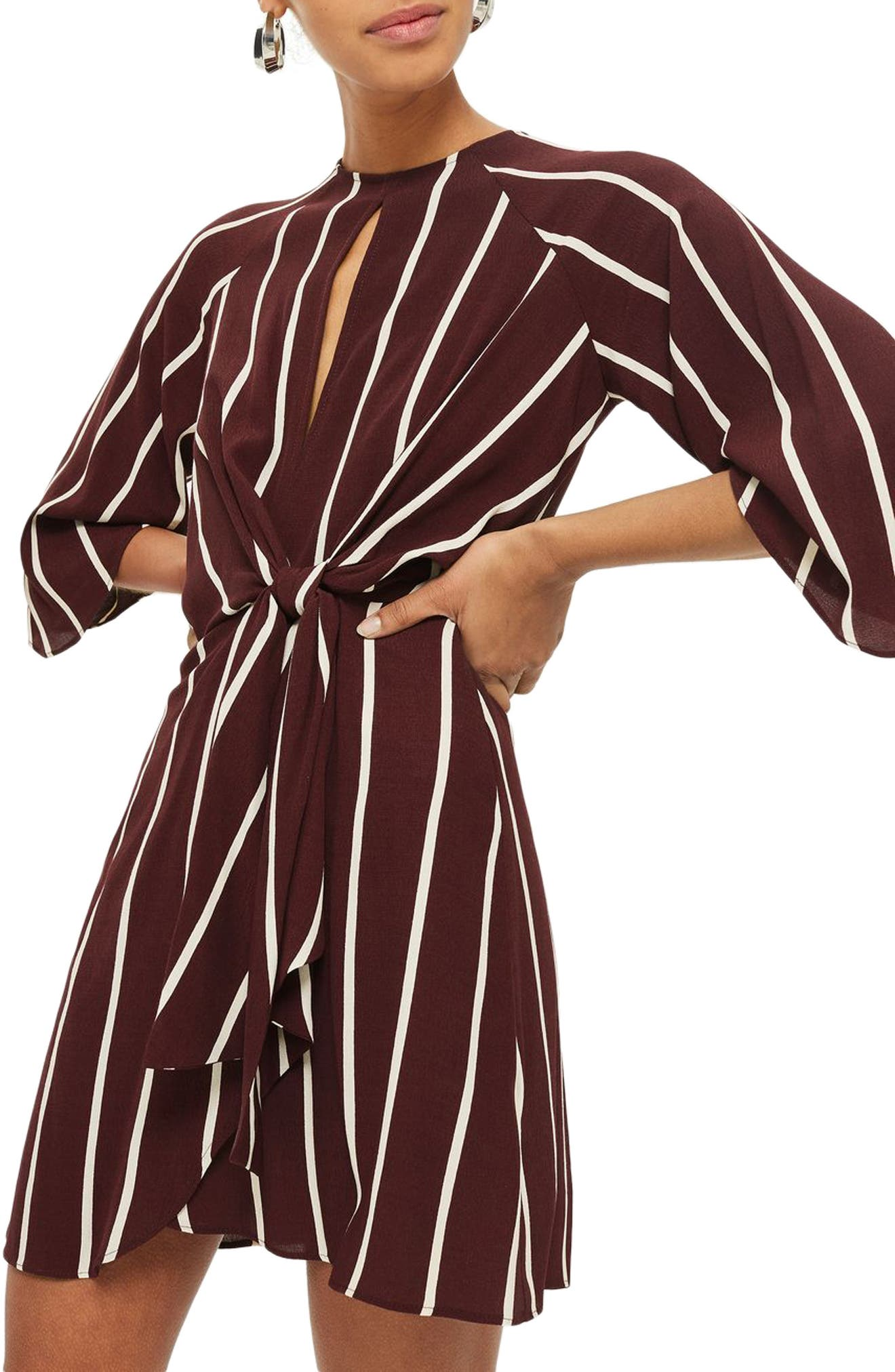 Stripe Knot Front Minidress,                         Main,                         color, Burgundy