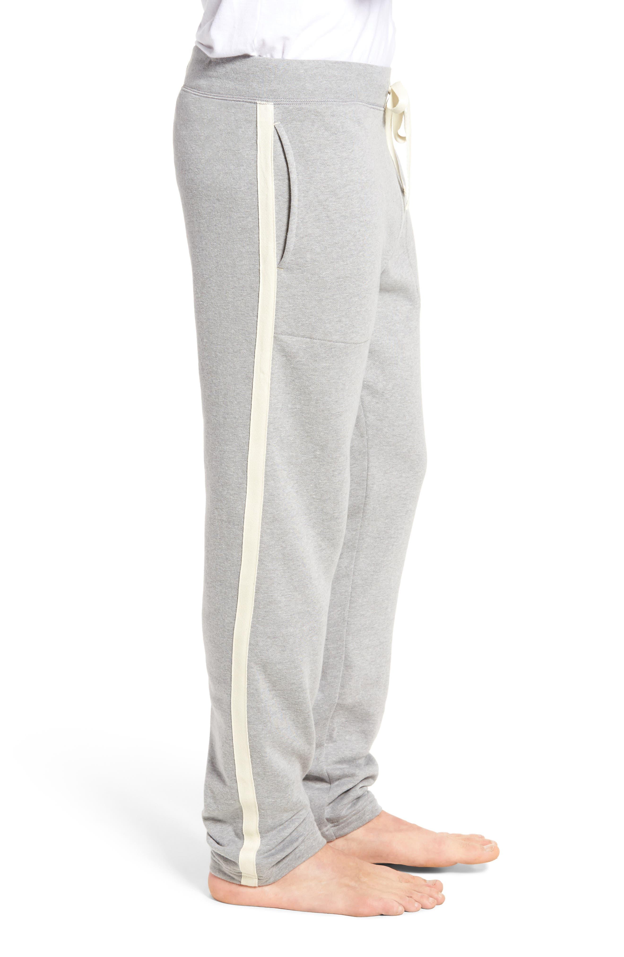 Slim Fit Brushed Fleece Pajama Pants,                             Alternate thumbnail 3, color,                             Andover Heather/ Cream