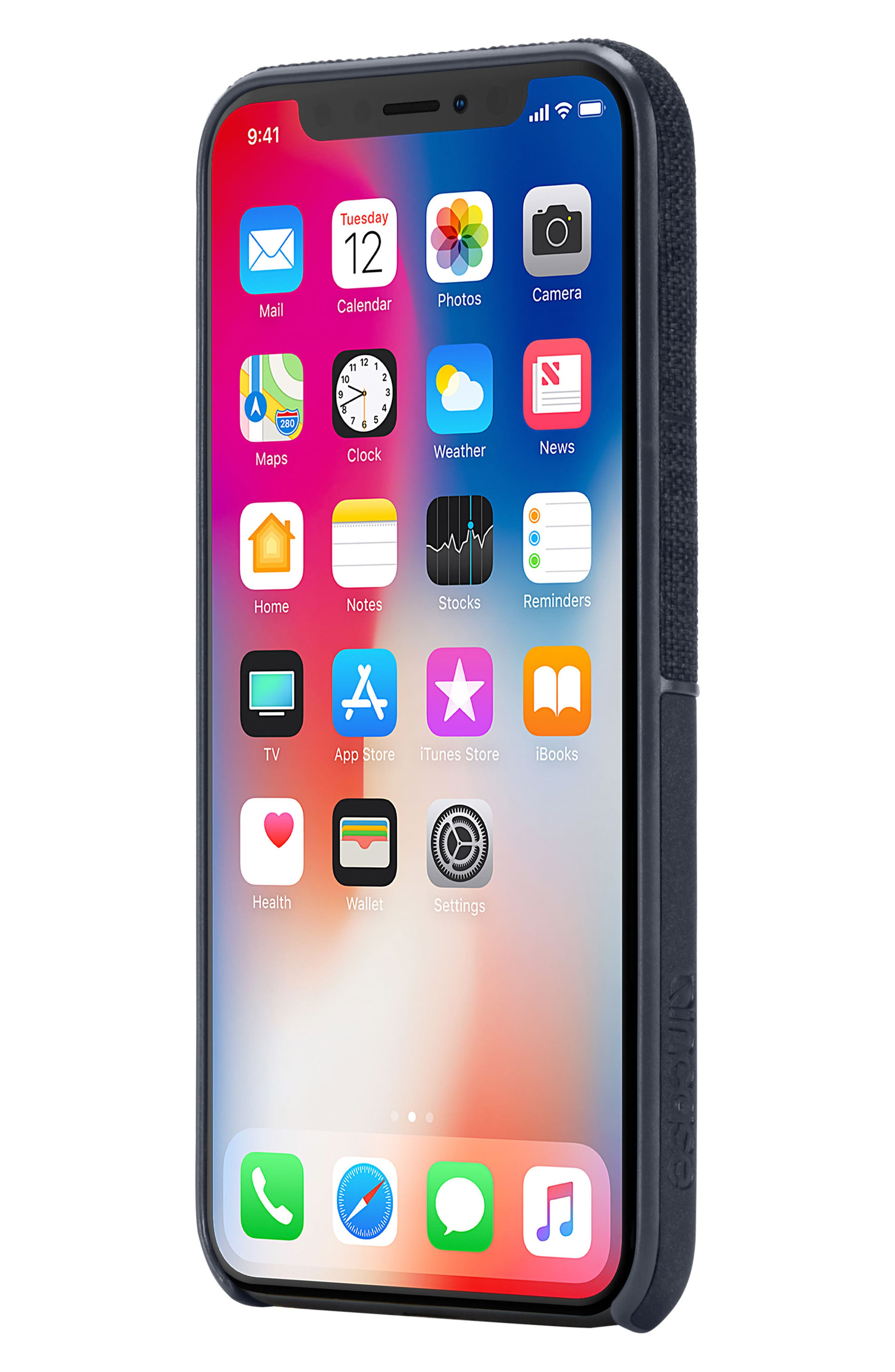 Textured Snap iPhone X Case,                             Alternate thumbnail 7, color,                             Navy