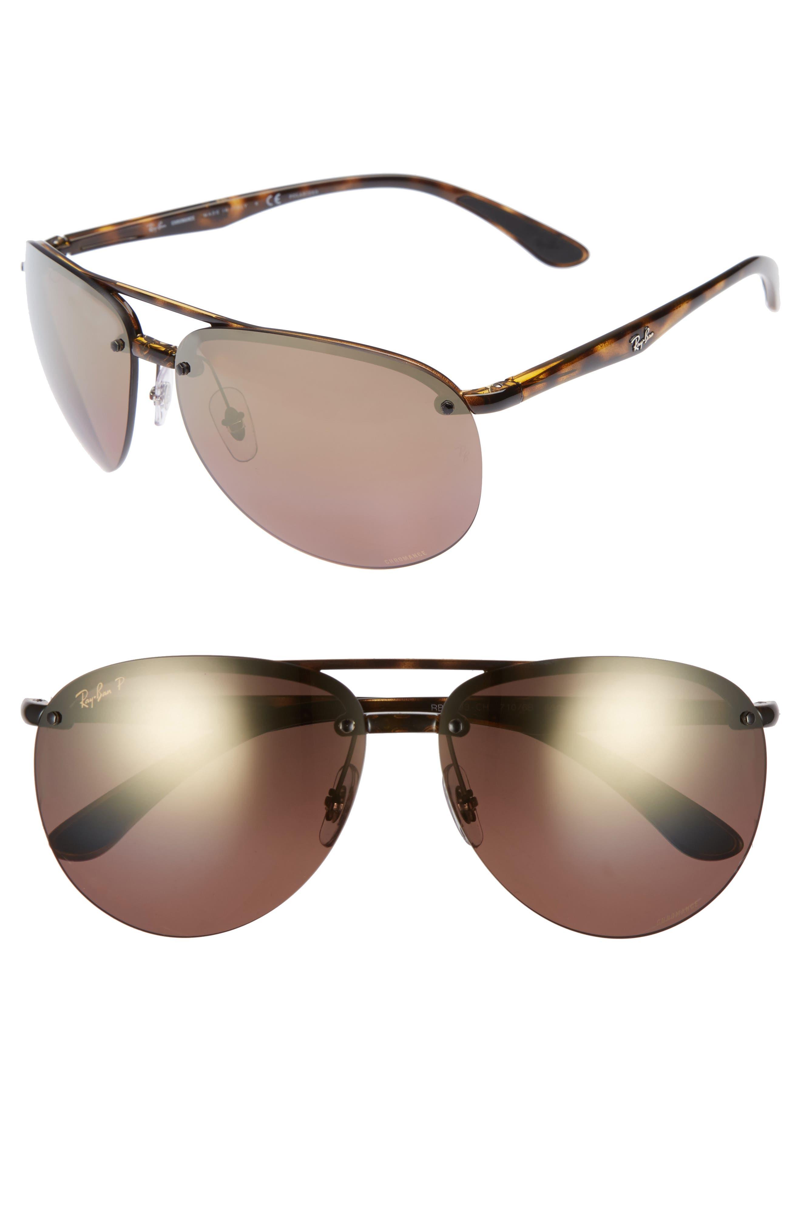 65mm Gradient Aviator Sunglasses,                             Main thumbnail 1, color,                             Havana
