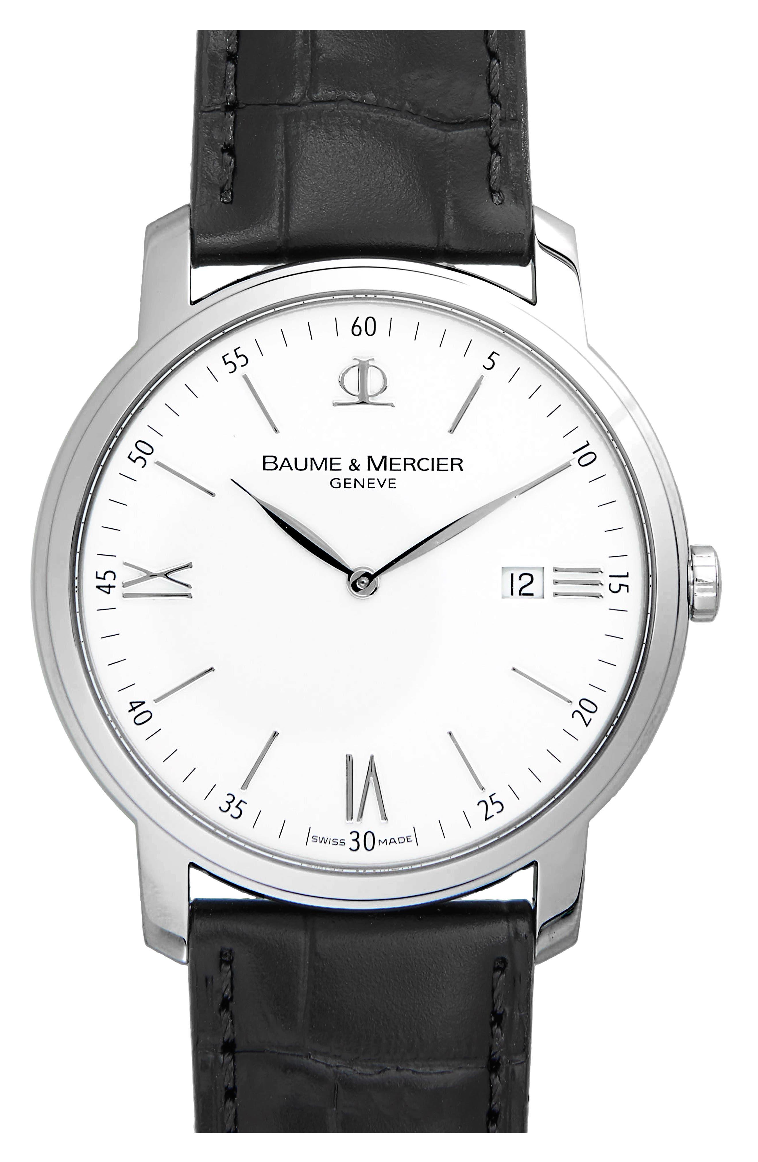 Baume & Mercier Classima Leather Strap Watch, 42mm,                         Main,                         color, Silver/ Black