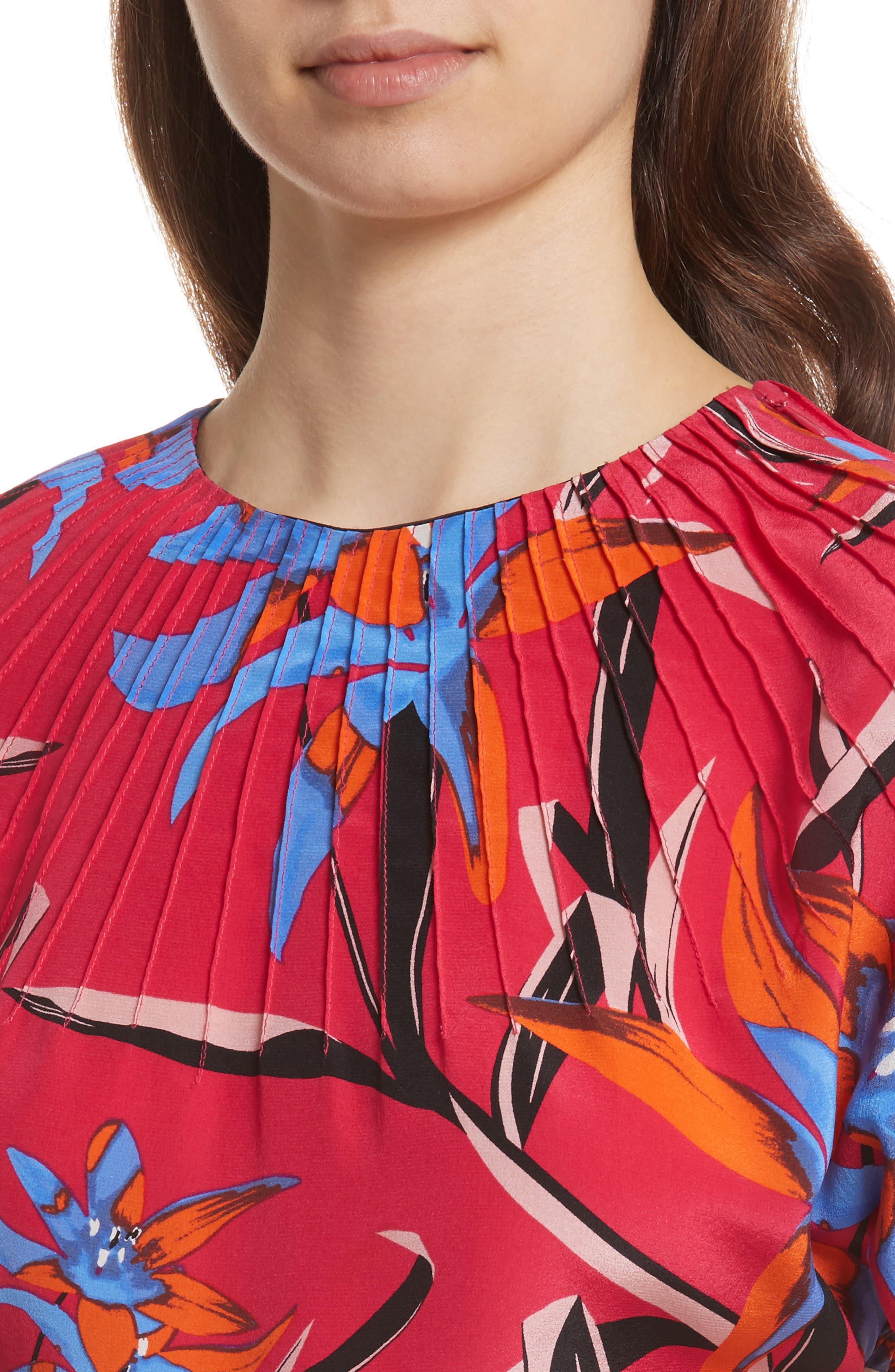 Diane von Furstenberg Pintuck Print Silk Crop Top,                             Alternate thumbnail 4, color,                             Harlow Magenta