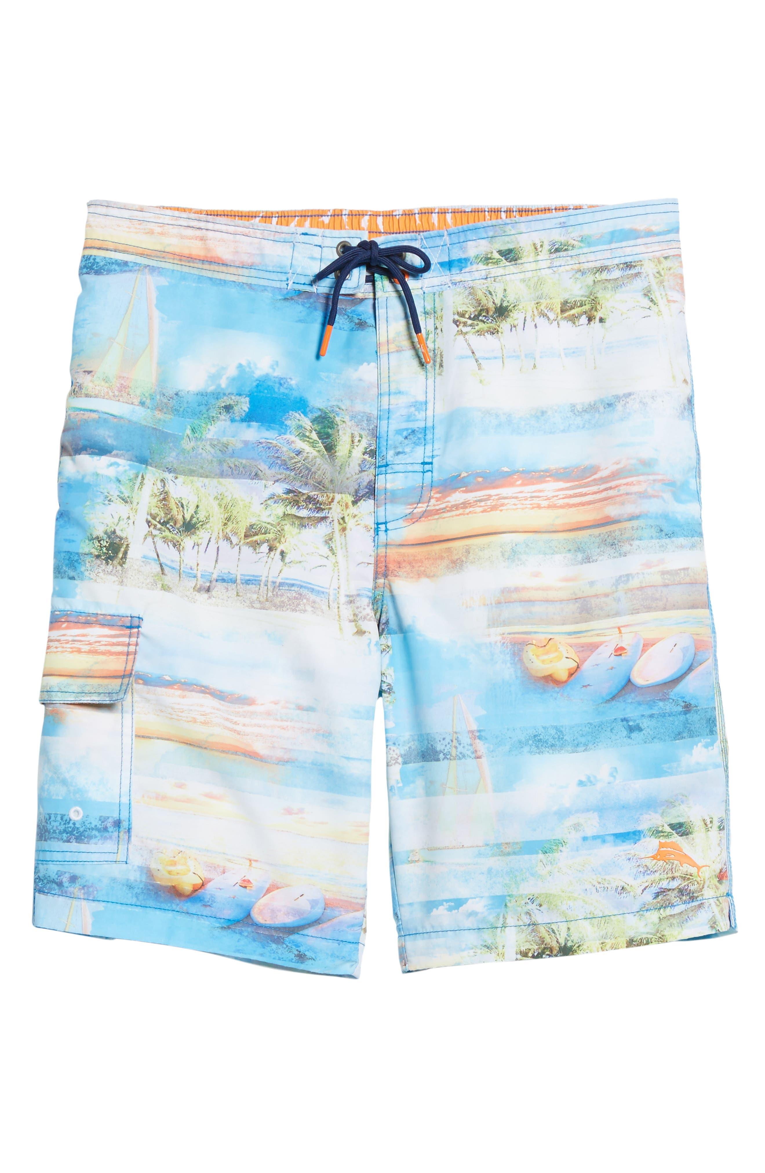 Baja Electric Beach Swim Trunks,                             Alternate thumbnail 6, color,                             Galaxy Blue