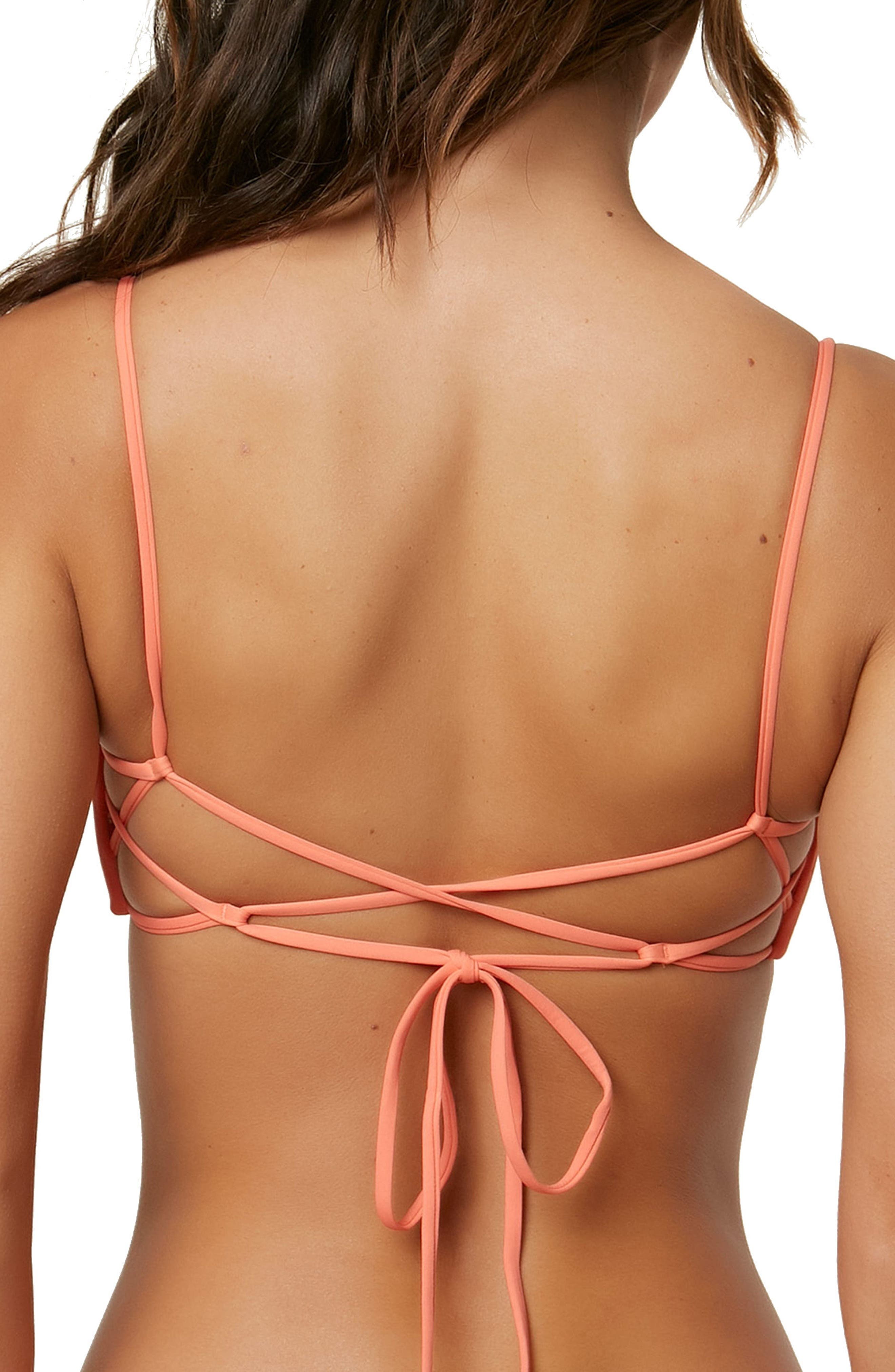 Salt Walter Solids Bikini Top,                             Alternate thumbnail 2, color,                             Coral Punch