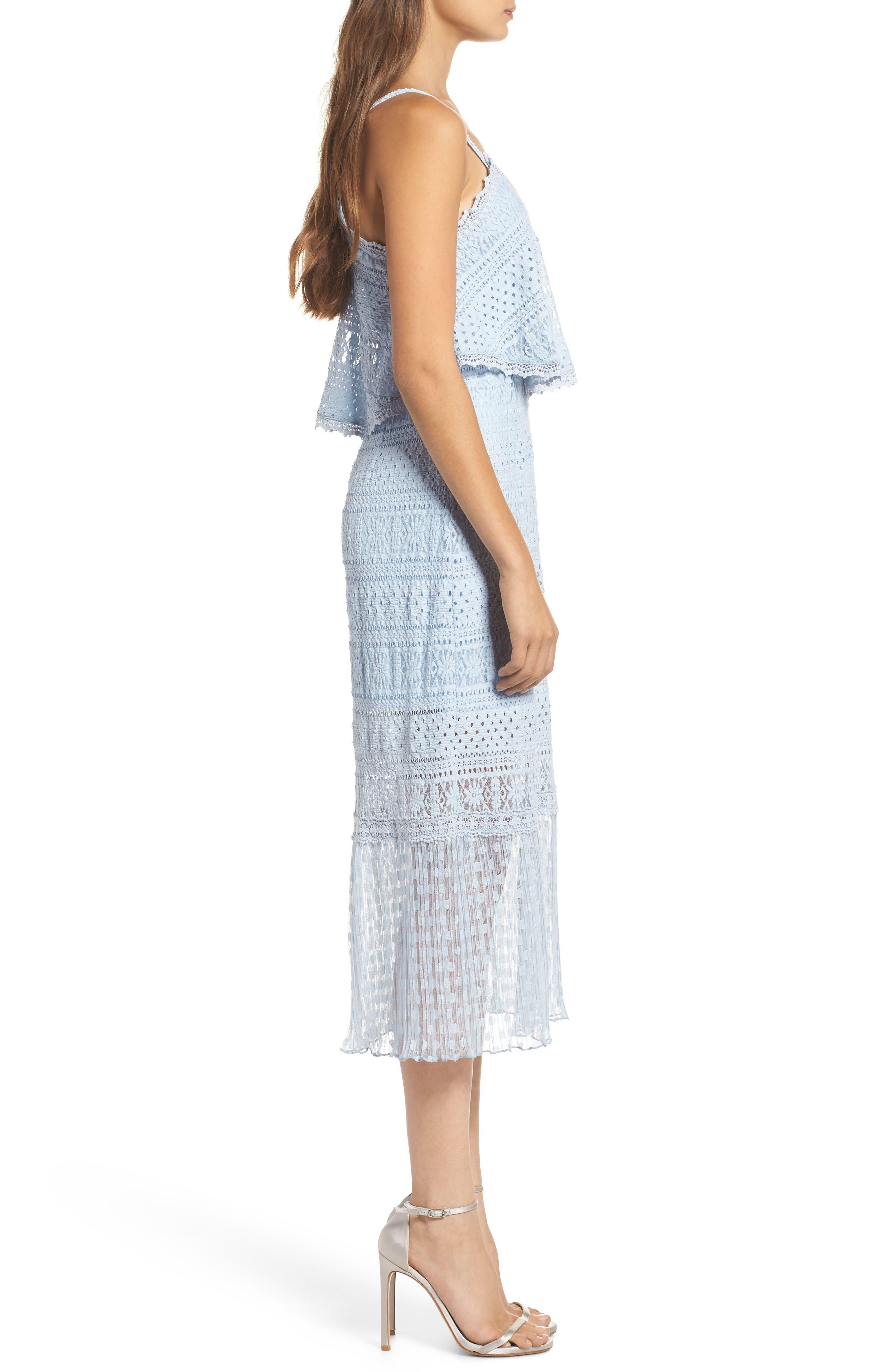 Ellie Lace Popover Midi Dress,                             Alternate thumbnail 3, color,                             Celestial Blue