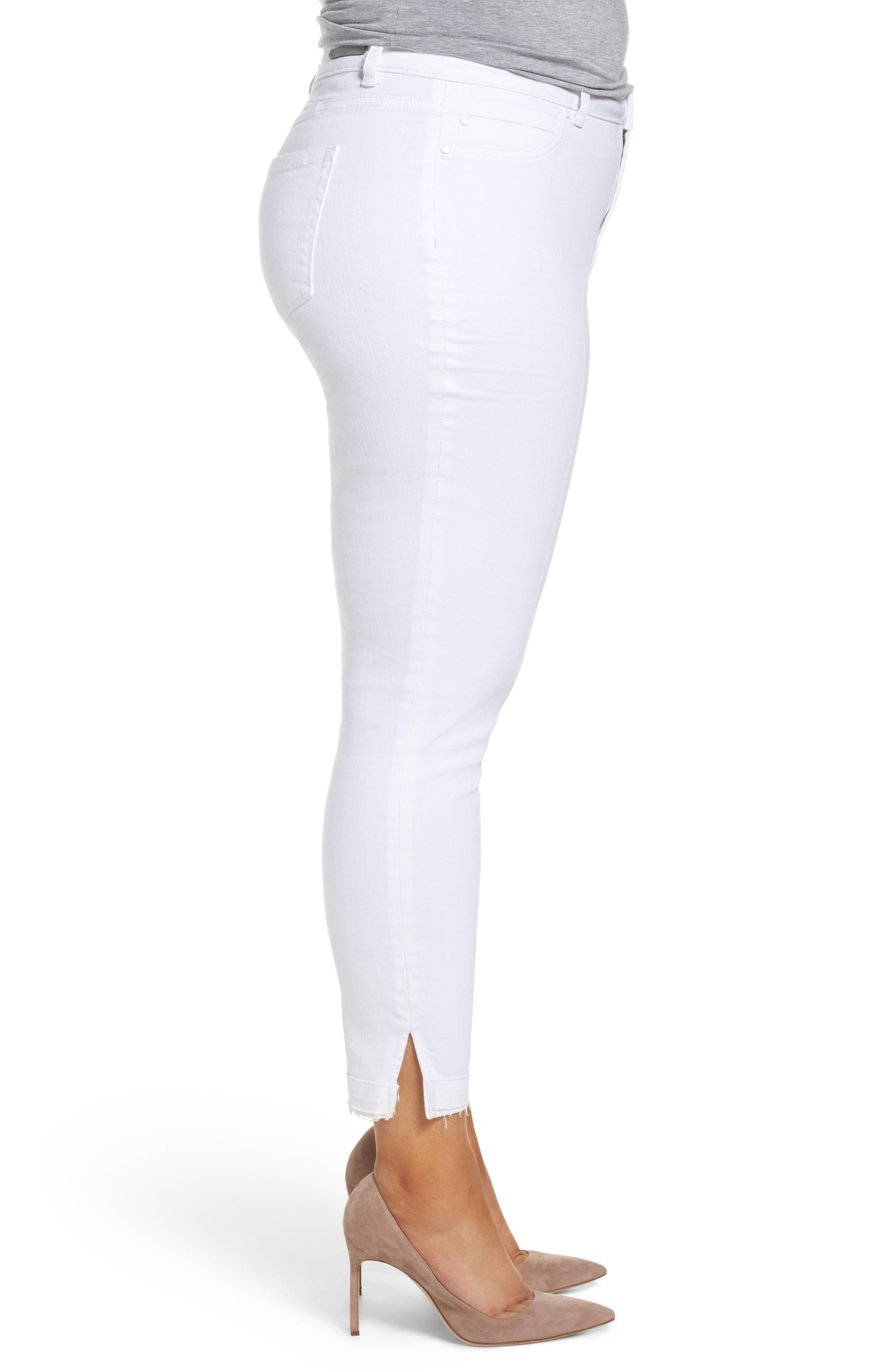 Release Hem Skinny Jeans,                             Alternate thumbnail 3, color,                             White