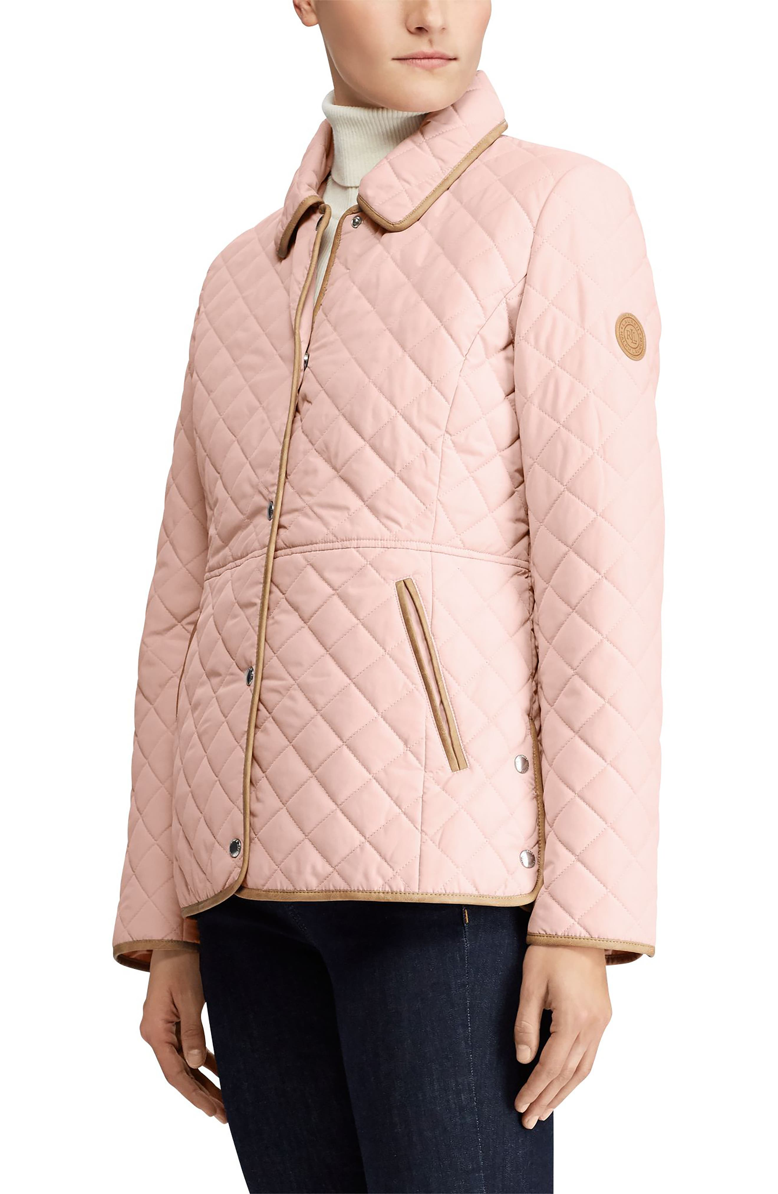 Faux Leather Trim Quilted Jacket,                             Main thumbnail 1, color,                             English Blush