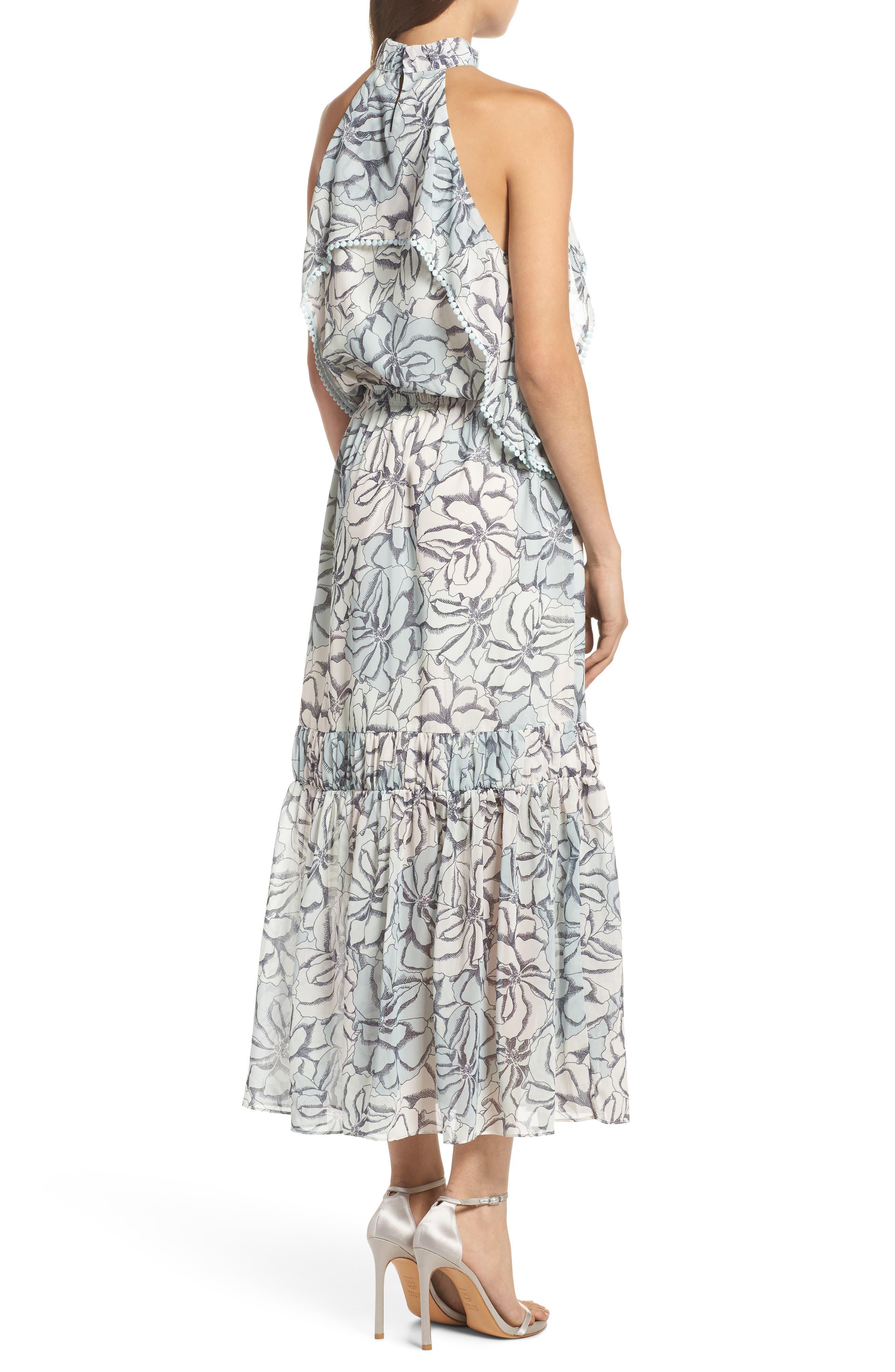 Alternate Image 2  - Foxiedox Amina Pompom Halter Tea Length Dress