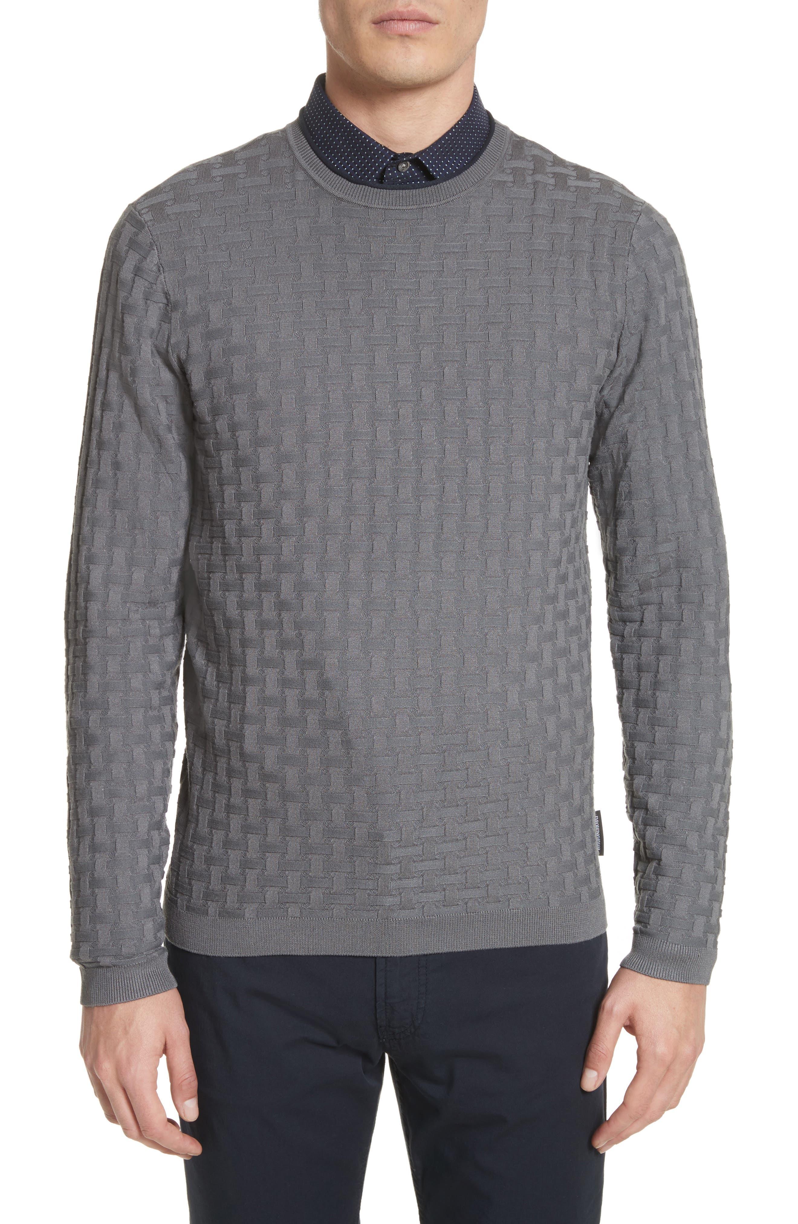 Main Image - Emporio Armani Slim Fit Woven Links Sweater