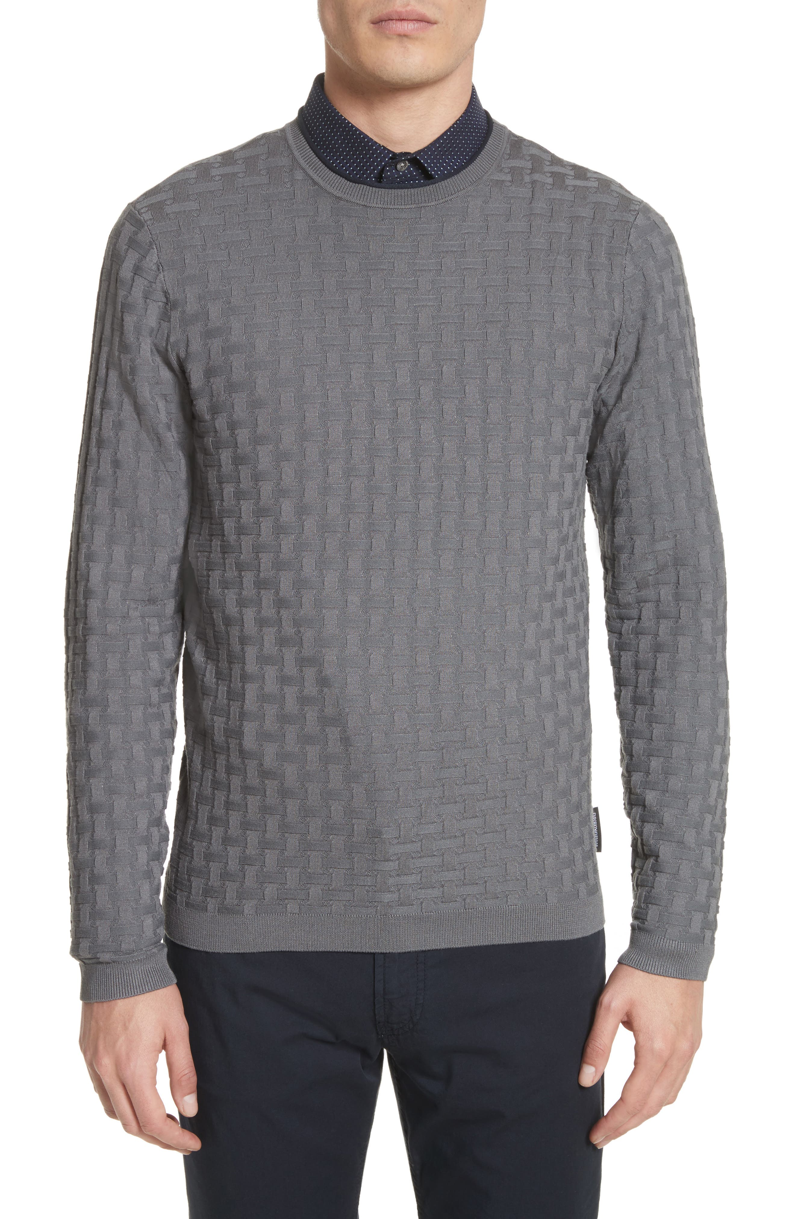 Slim Fit Woven Links Sweater,                         Main,                         color, Pietra
