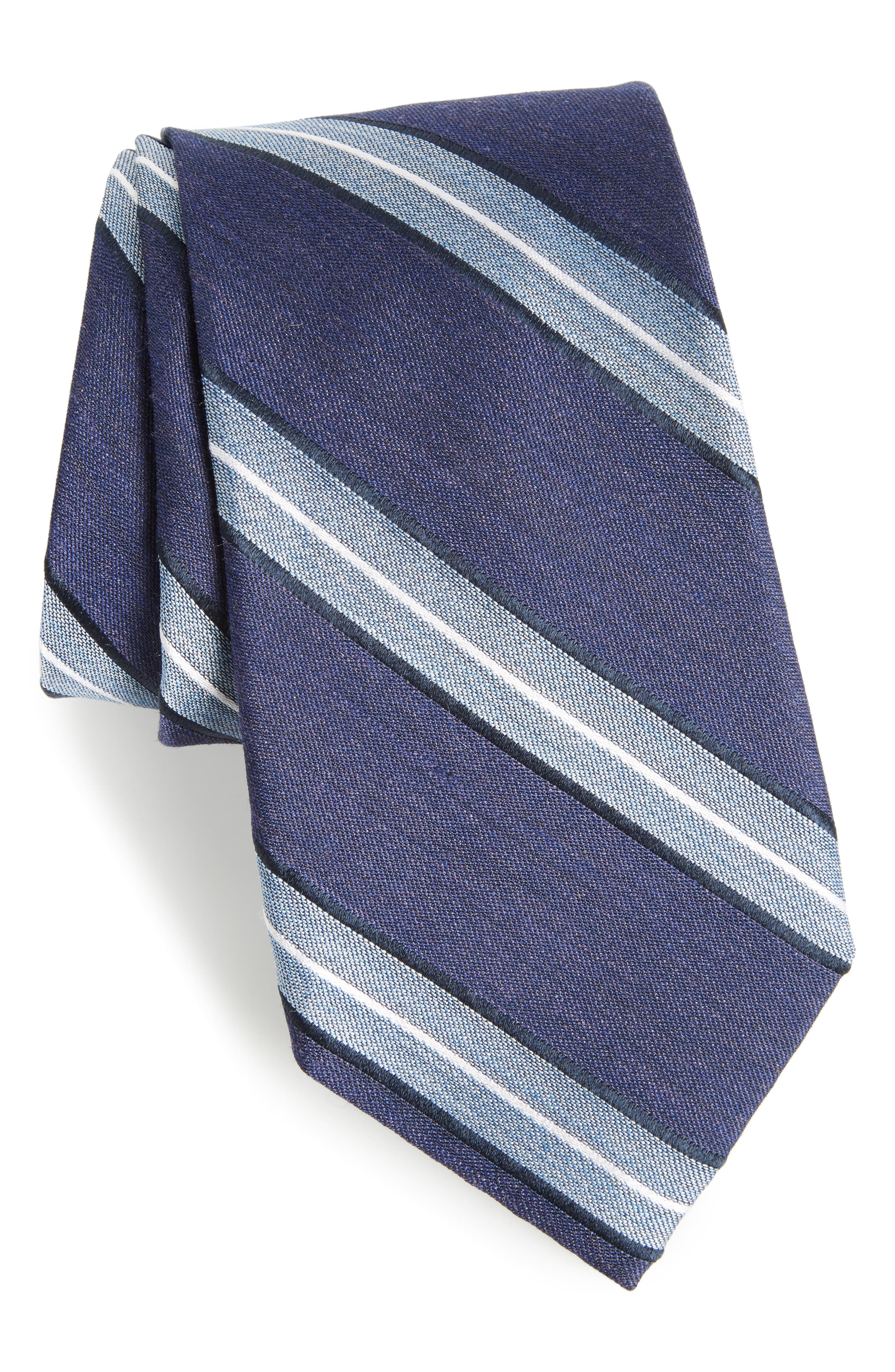 Peralba Stripe Silk Blend Tie,                             Main thumbnail 1, color,                             Navy