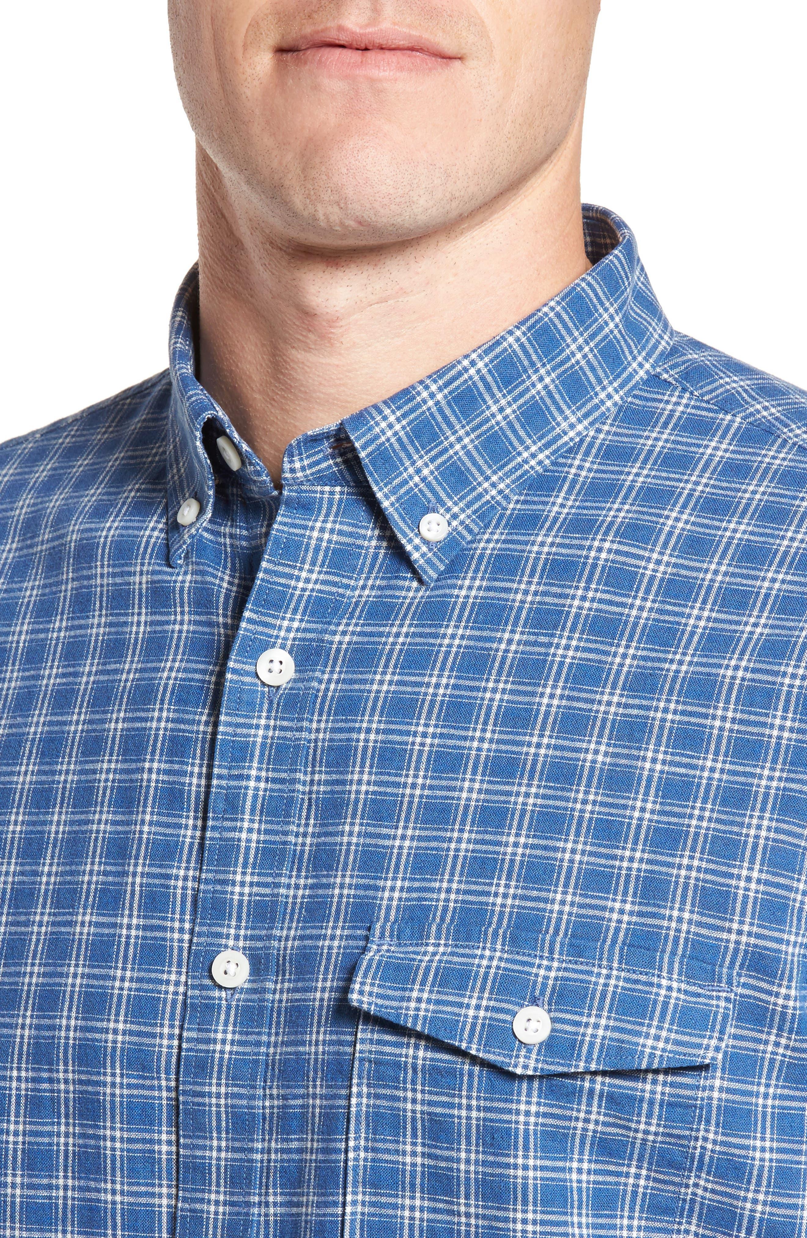 Ivy Trim Fit Check Sport Shirt,                             Alternate thumbnail 2, color,                             Blue Indigo White Plaid