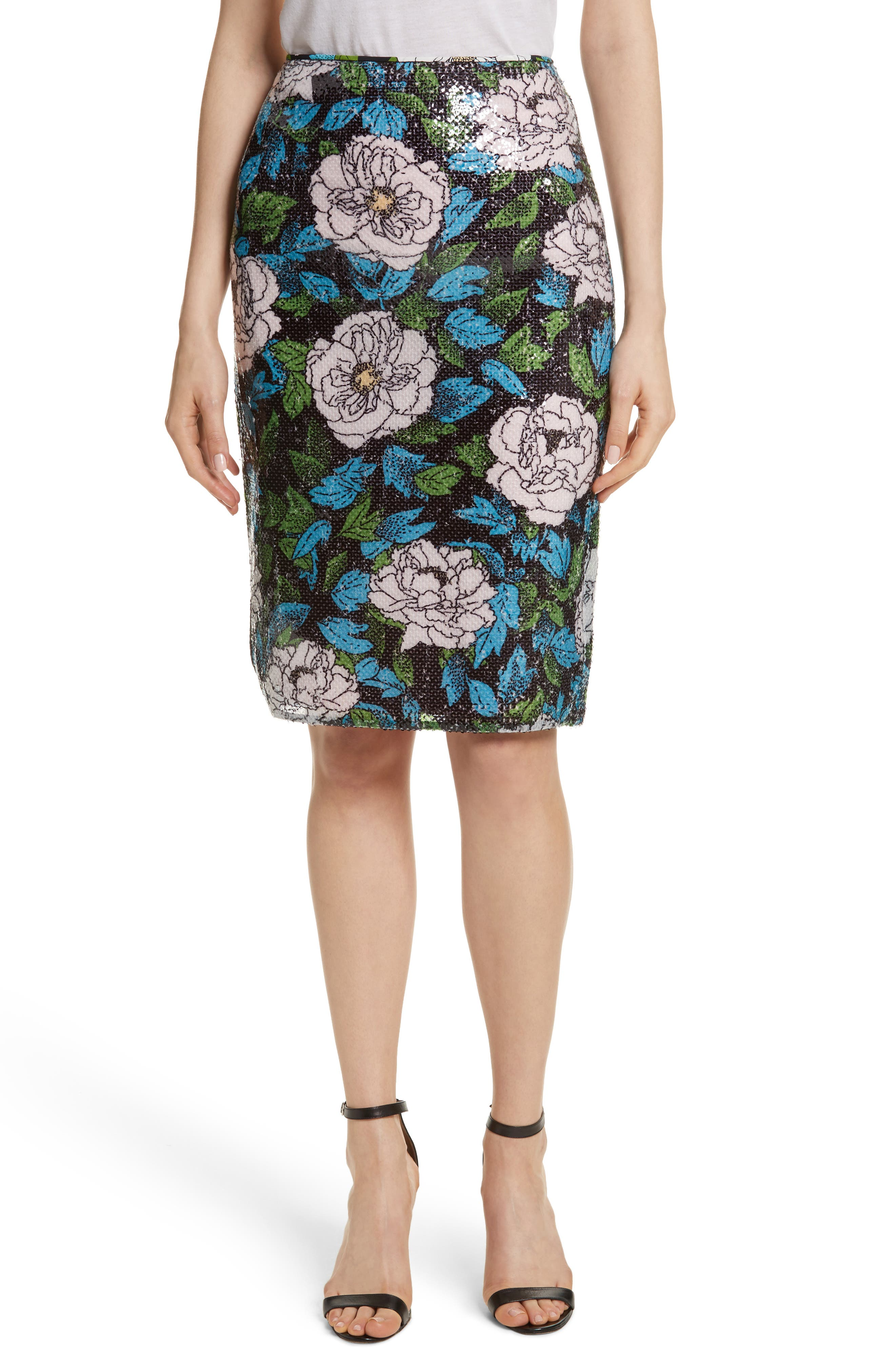 Diane von Furstenberg Sequin Pencil Skirt,                             Main thumbnail 1, color,                             Boswell Ivory