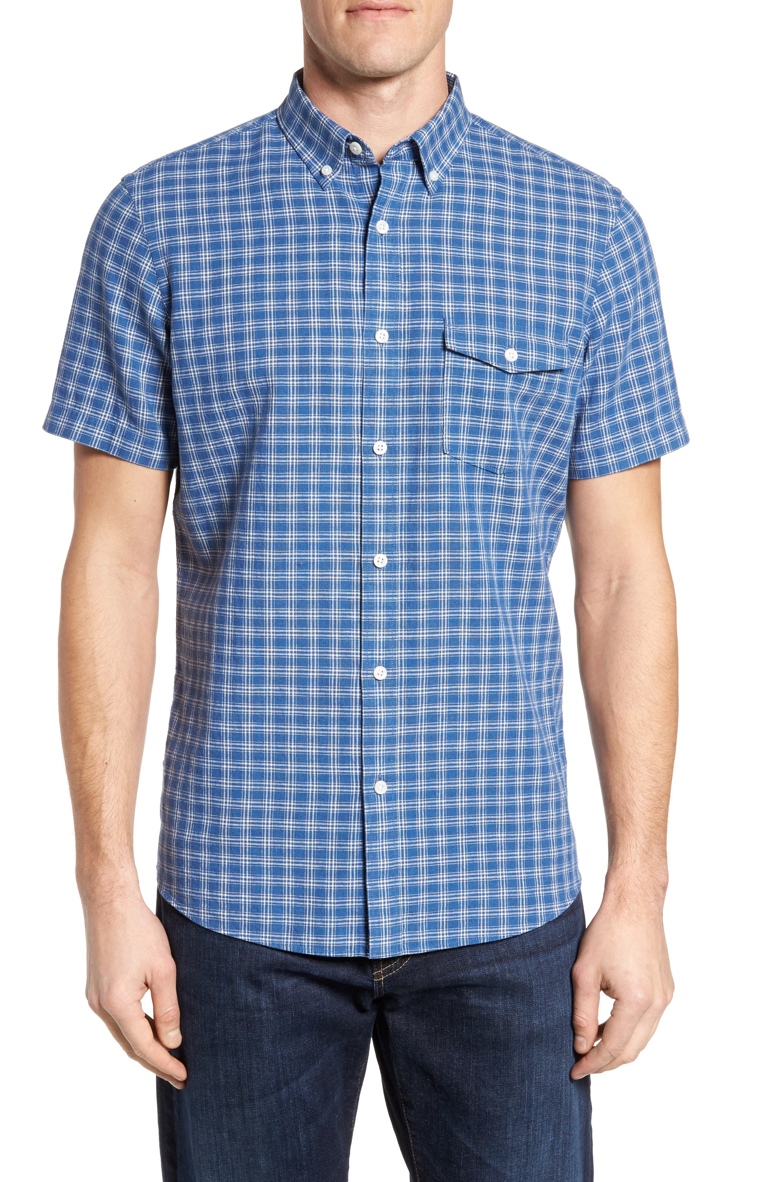 Ivy Trim Fit Check Sport Shirt,                         Main,                         color, Blue Indigo White Plaid