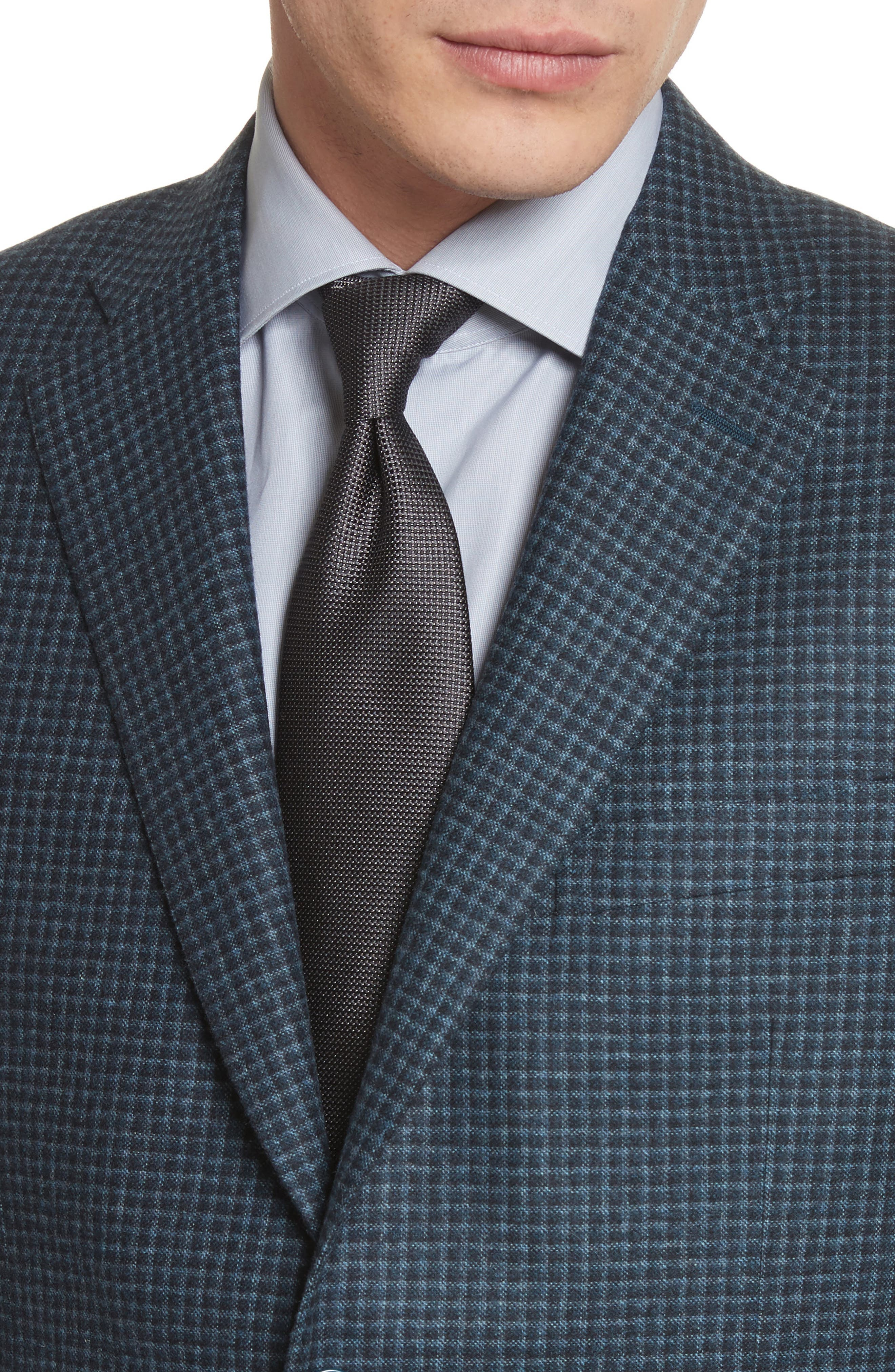 Classic Fit Check Wool & Cashmere Sport Coat,                             Alternate thumbnail 4, color,                             Navy