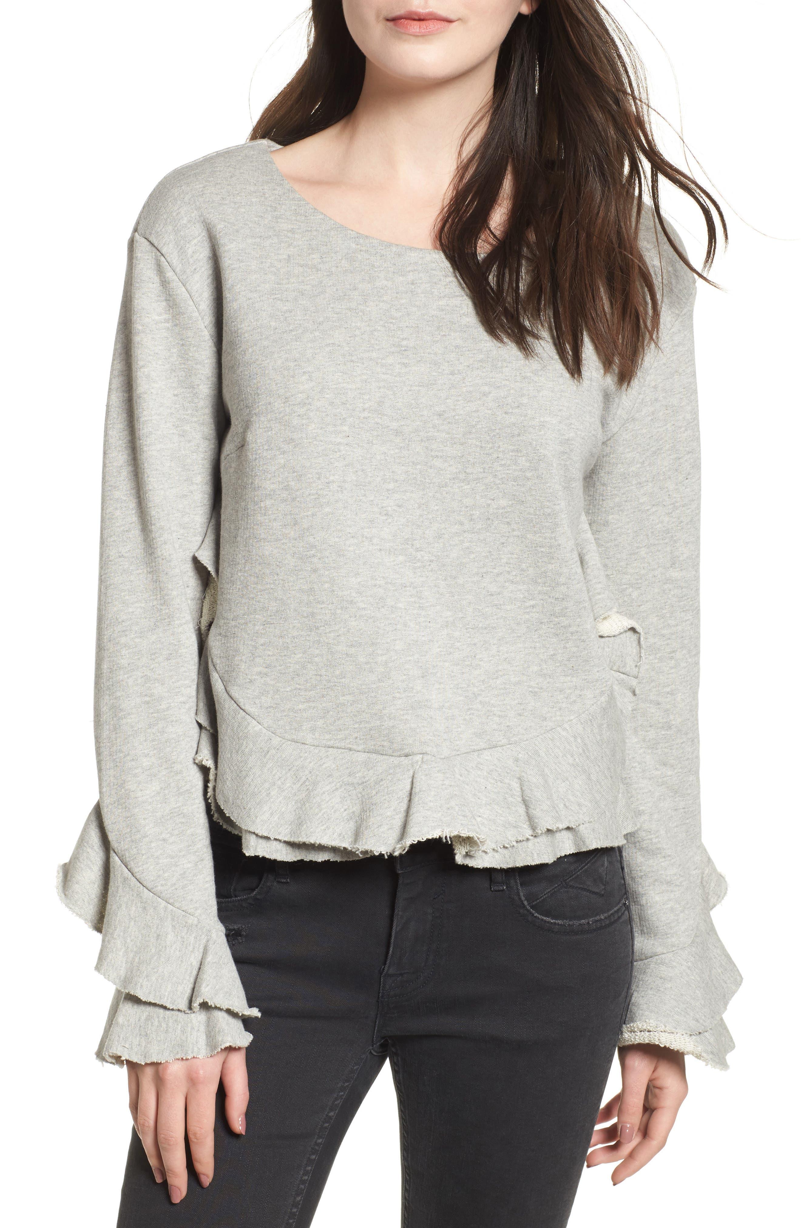 Ruffle Trim Sweatshirt,                             Main thumbnail 1, color,                             Heather Grey