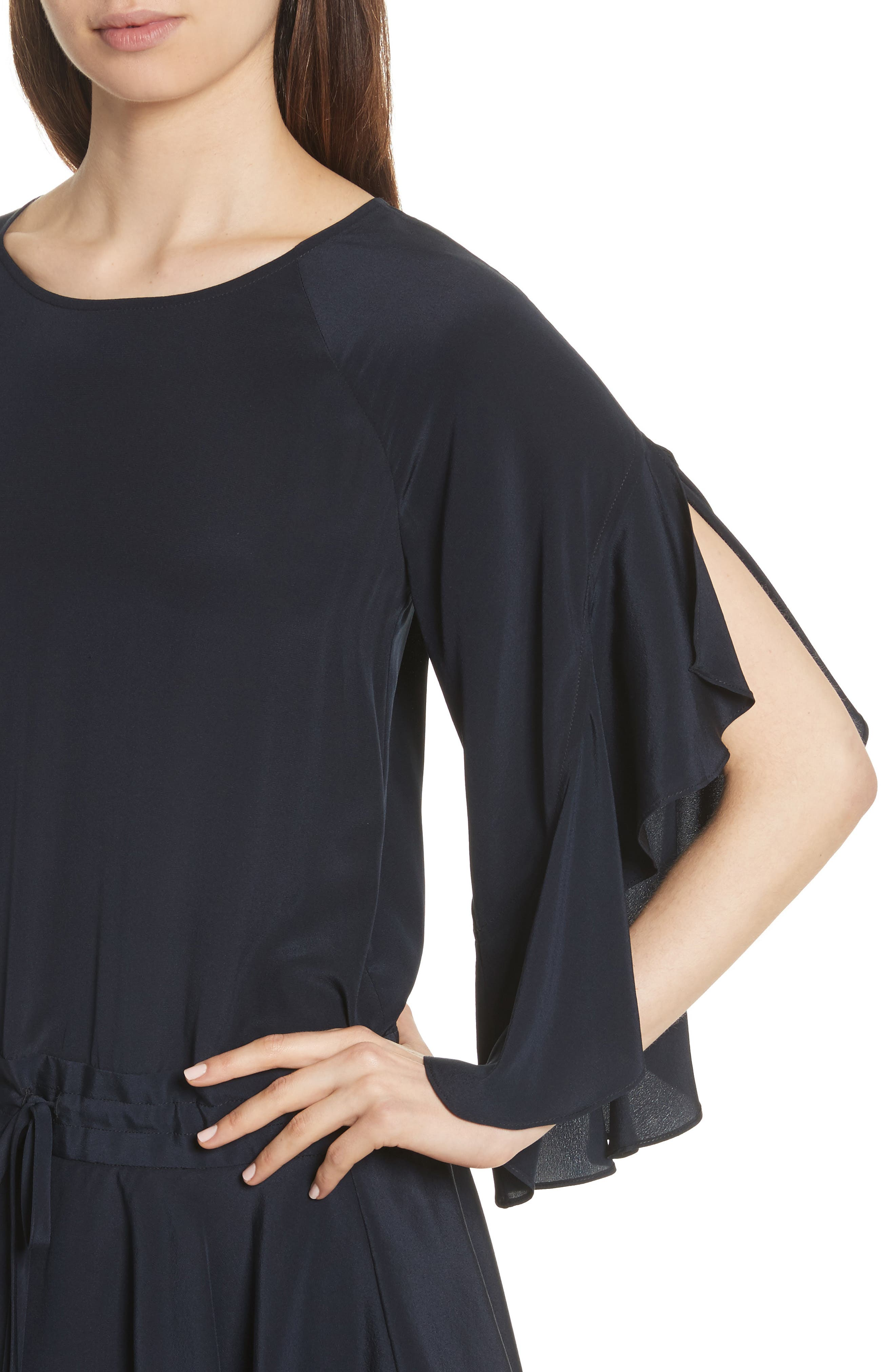 Cannon Flutter Sleeve Silk Dress,                             Alternate thumbnail 4, color,                             Midnight