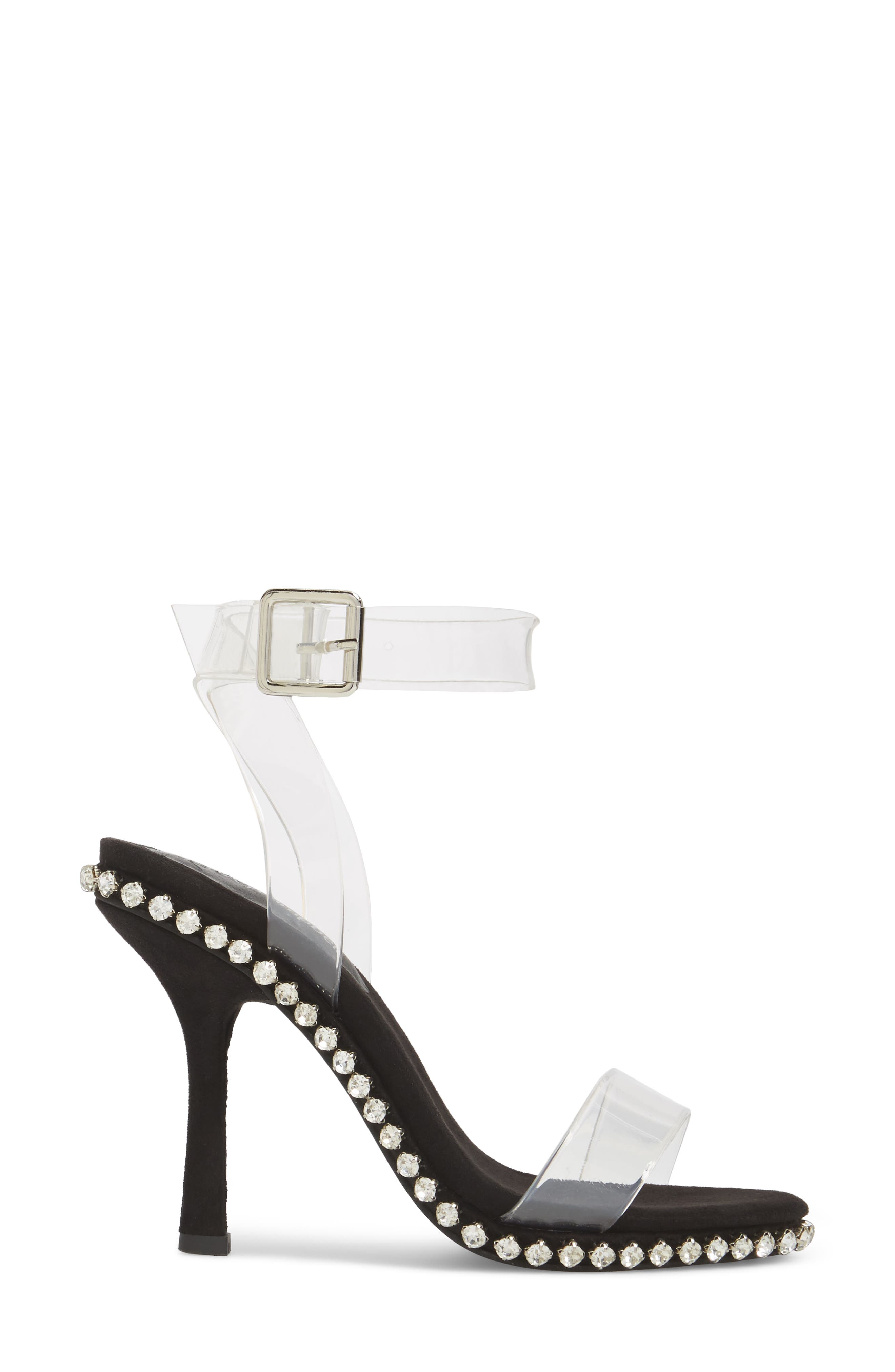 Charmed Sandal,                             Alternate thumbnail 3, color,                             Black Suede-Clear