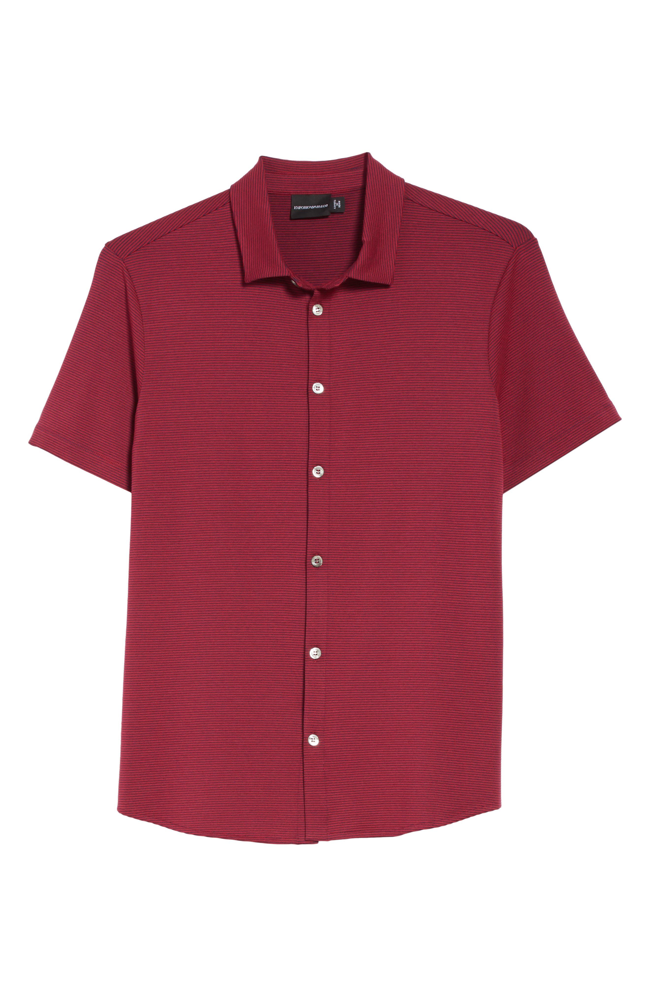 Slim Fit Knit Shirt,                             Alternate thumbnail 6, color,                             Borgogna