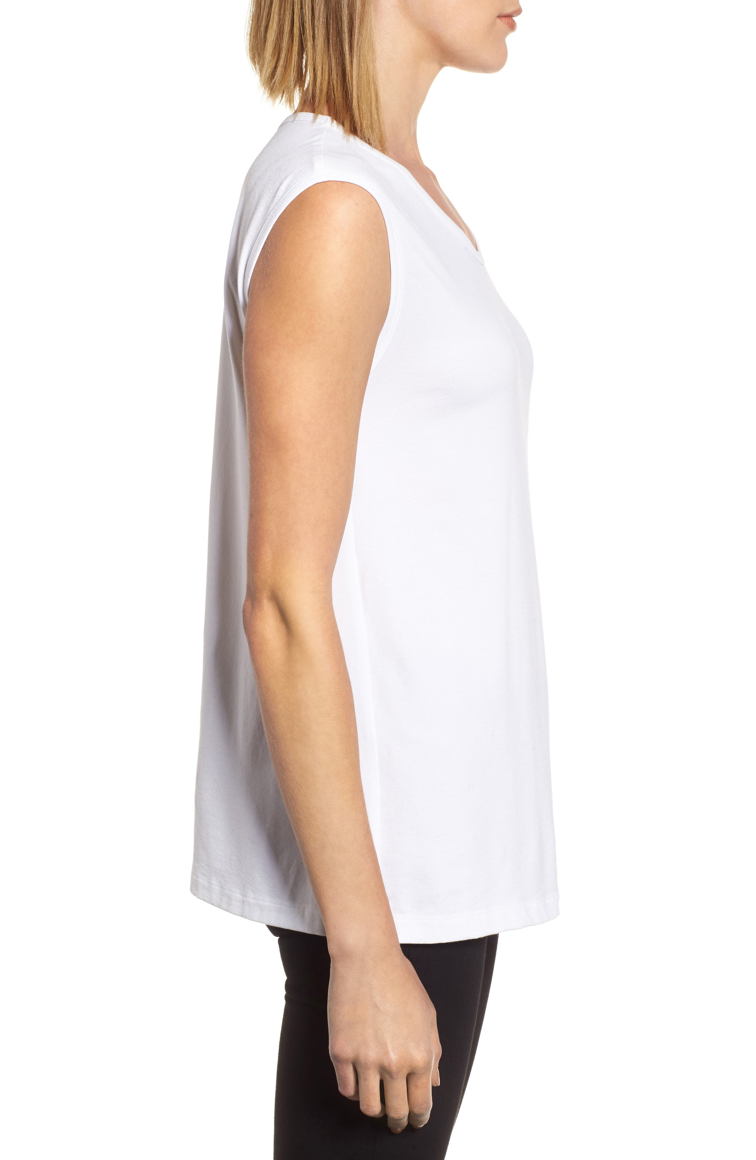U-Neck Stretch Jersey Tunic,                             Alternate thumbnail 4, color,                             White