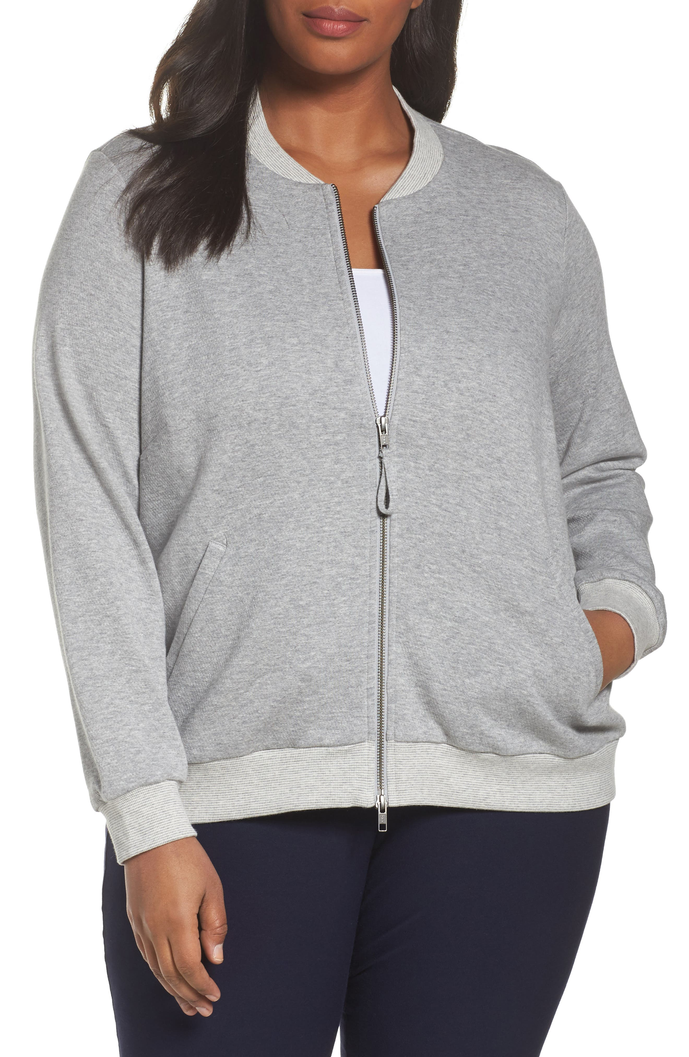 Main Image - Eileen Fisher Knit Bomber Jacket (Plus Size)