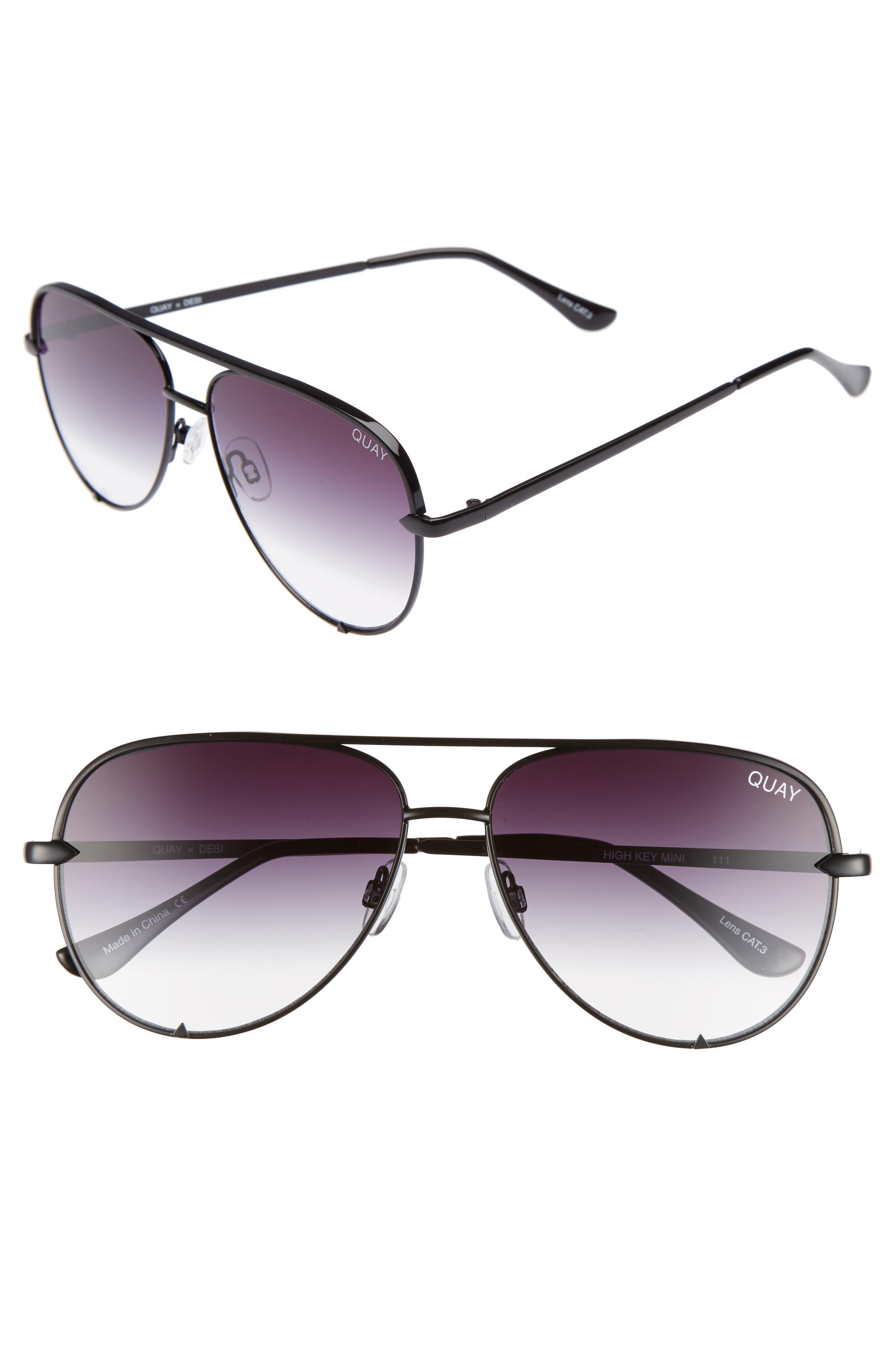 x Desi Perkins High Key Mini 57mm Aviator Sunglasses,                         Main,                         color, Black/ Fade To Clear
