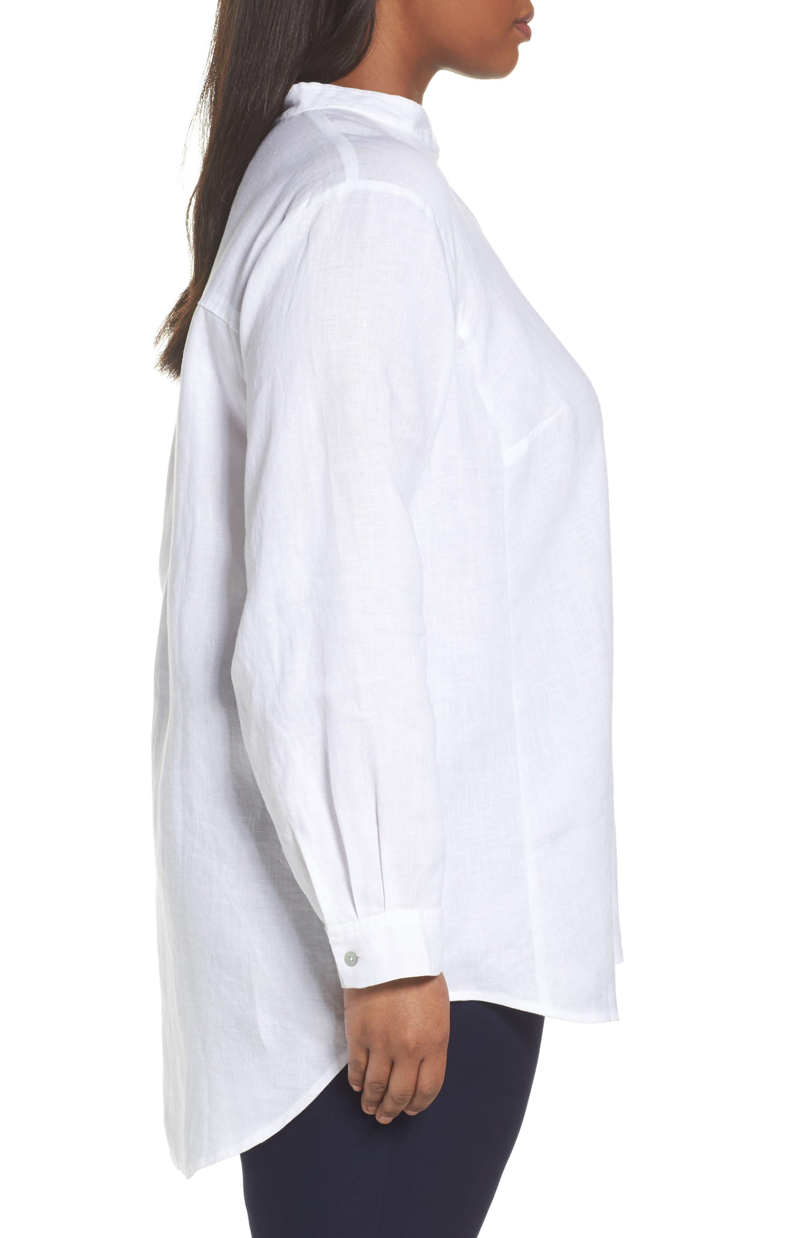 Alternate Image 3  - Eileen Fisher Organic Linen Tunic Shirt (Plus Size)
