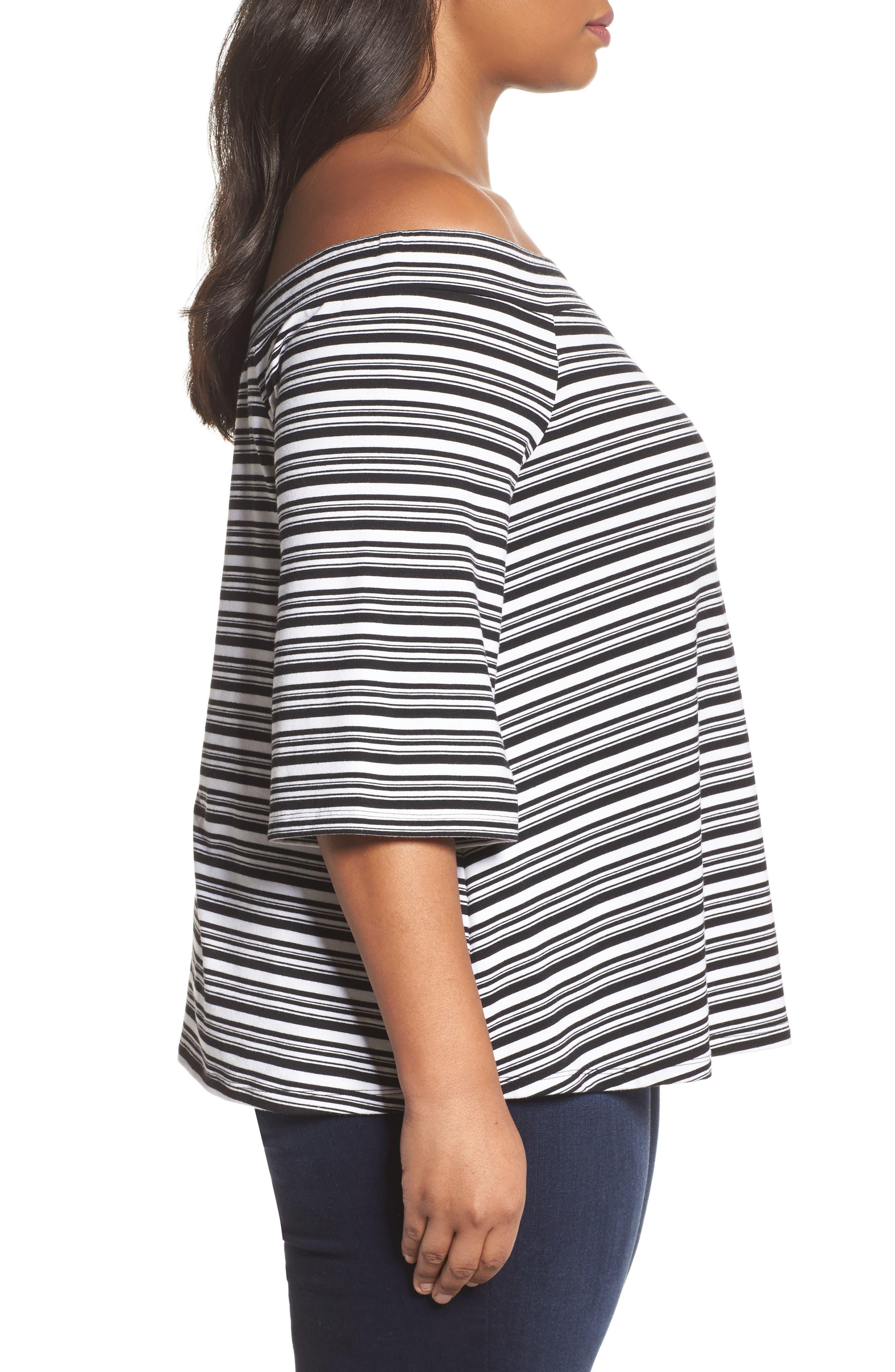 Stripe Off the Shoulder Top,                             Alternate thumbnail 3, color,                             Black- White Veriegated Stripe