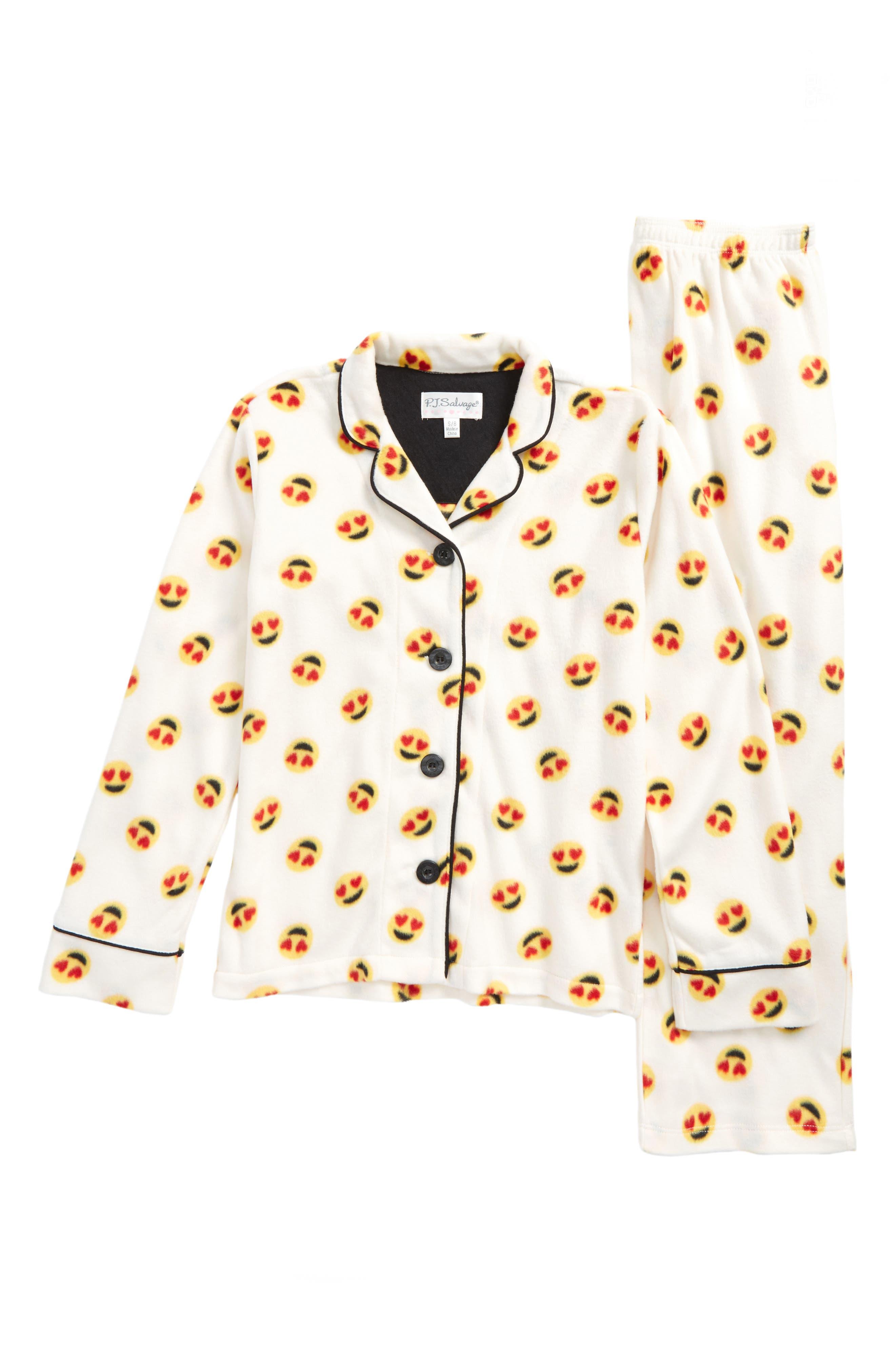 Two-Piece Fleece Pajamas,                         Main,                         color, Ivory