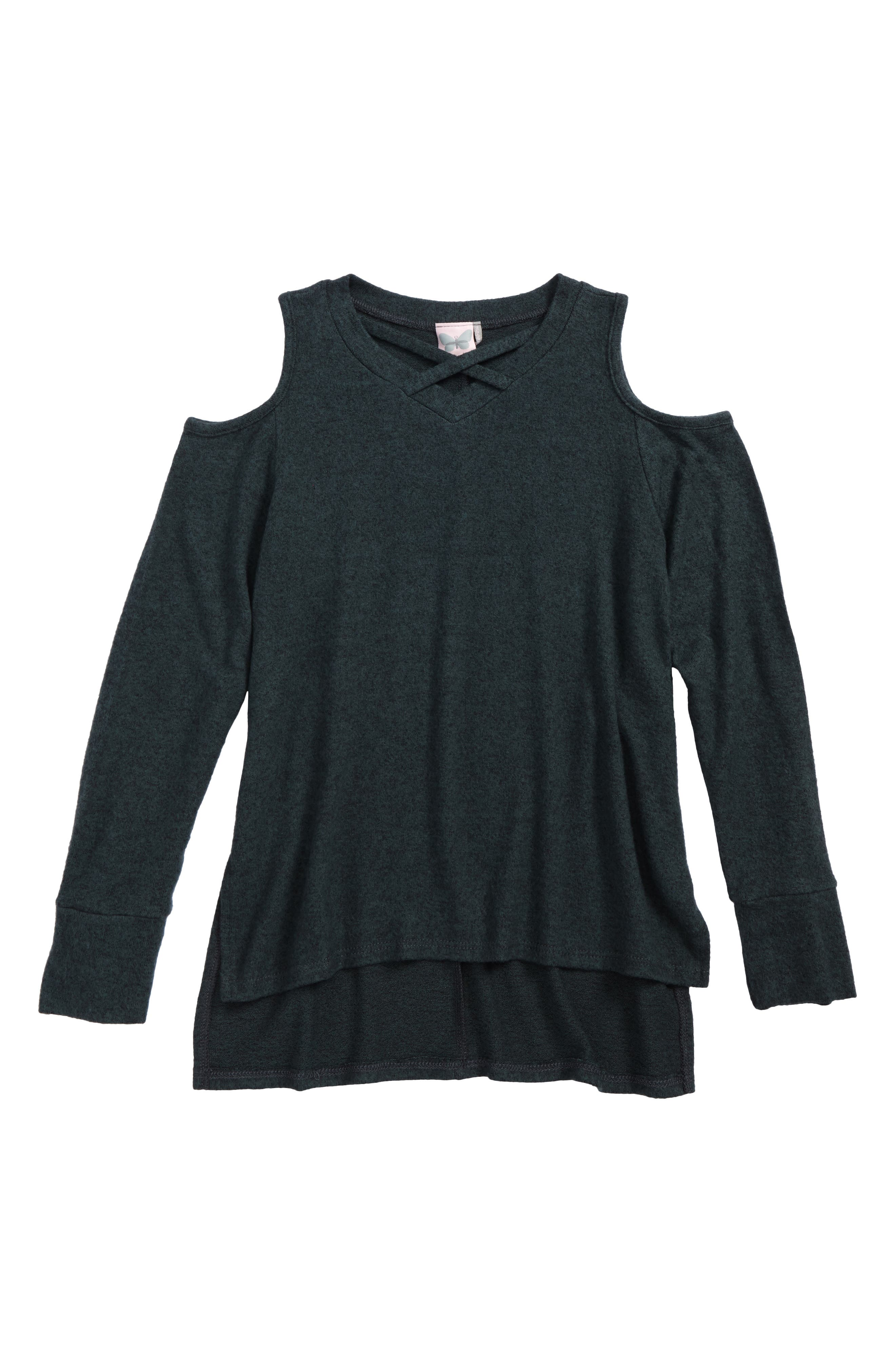 For All Seasons Cold Shoulder Sweater (Big Girls)