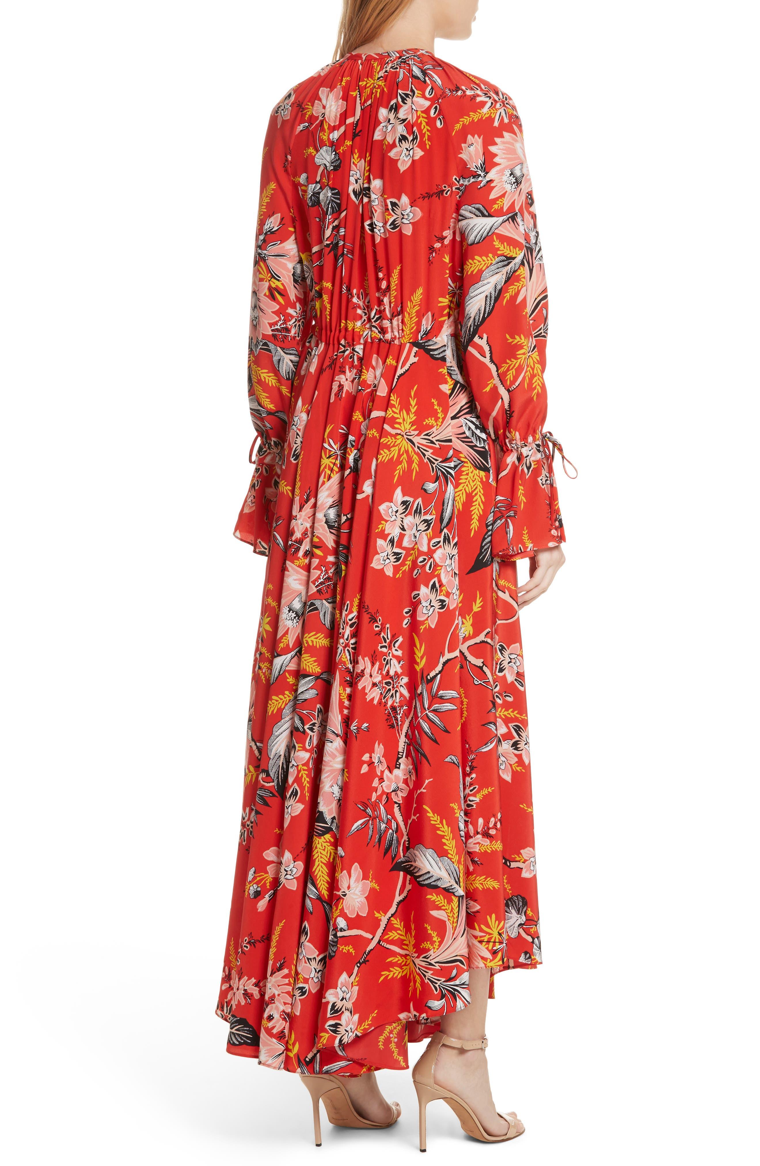 Diane von Furstenberg Floral Silk Maxi Dress,                             Alternate thumbnail 4, color,                             Avalon Poppy