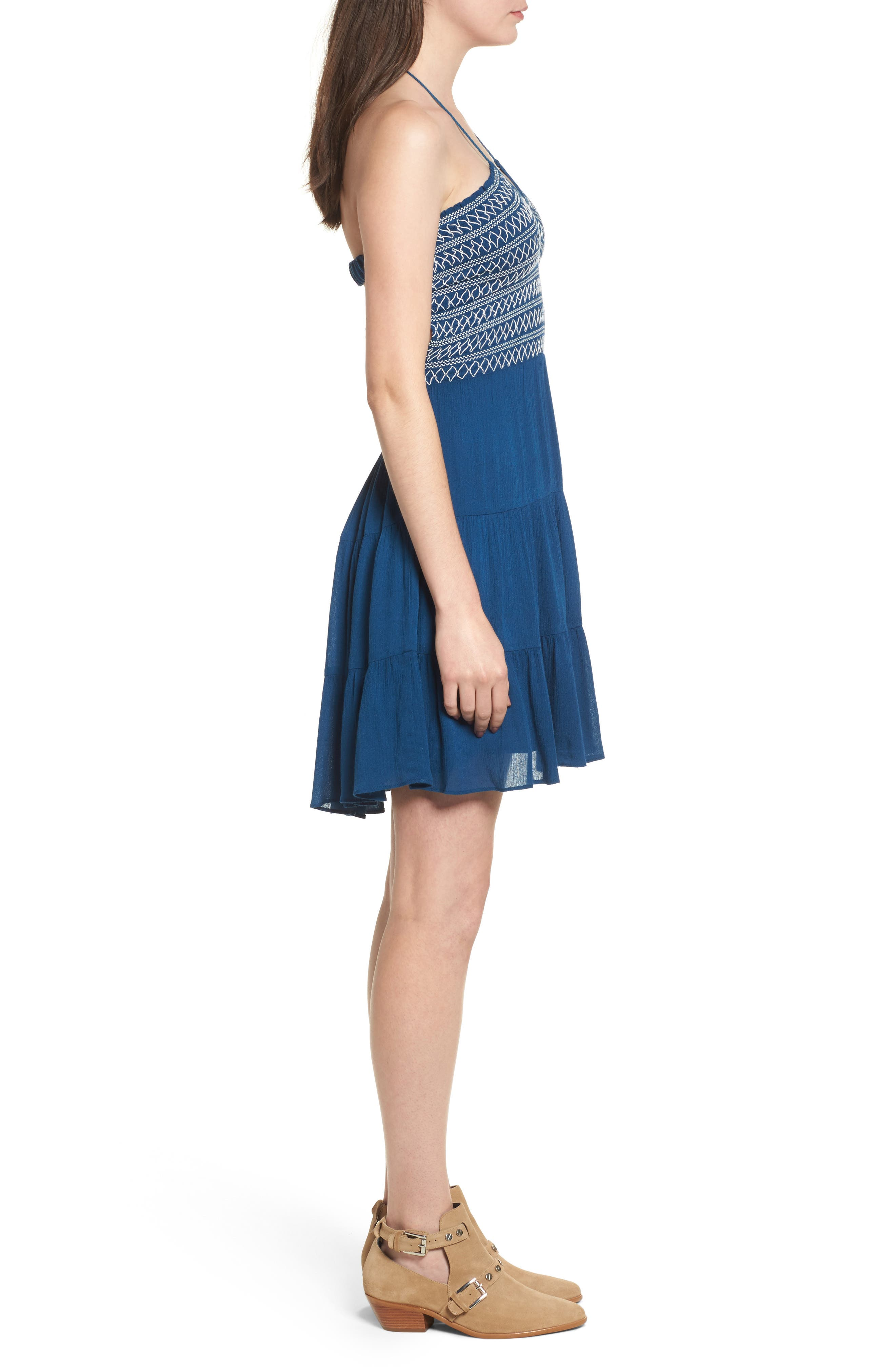 Smocked Sailor Minidress,                             Alternate thumbnail 3, color,                             Navy