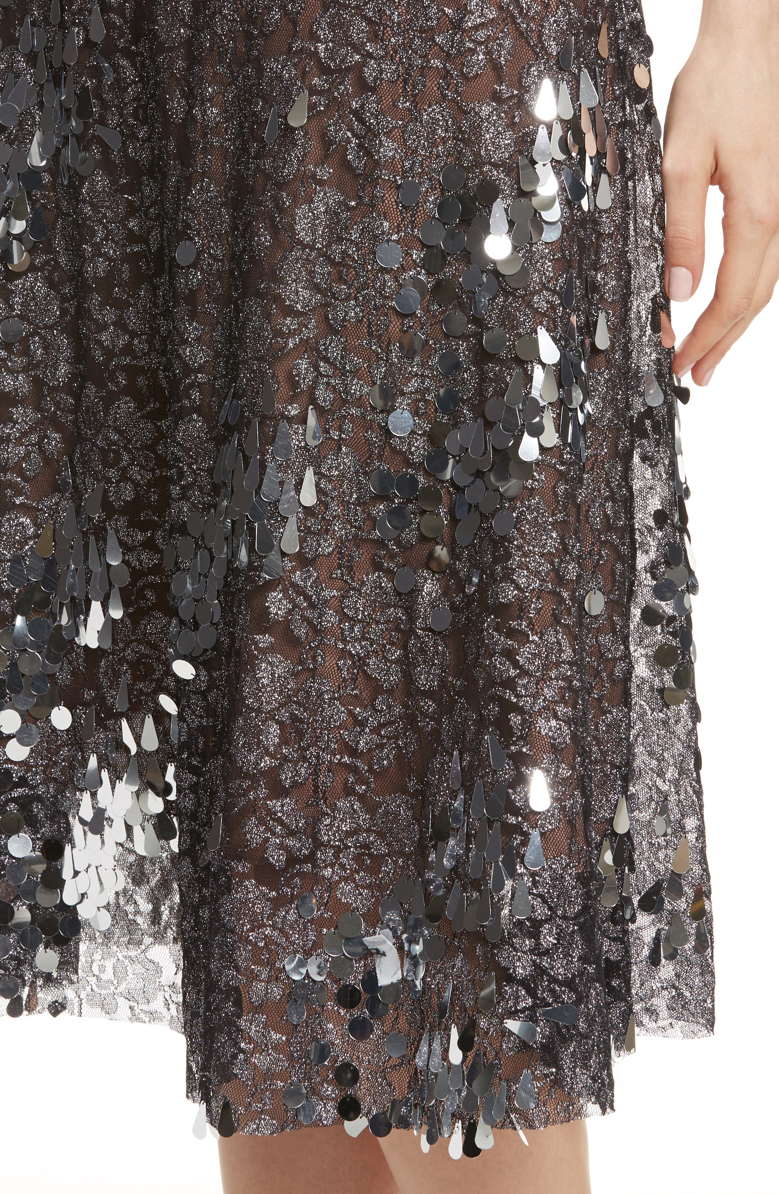 Sequin Flared Skirt,                             Alternate thumbnail 4, color,                             Antique Silver