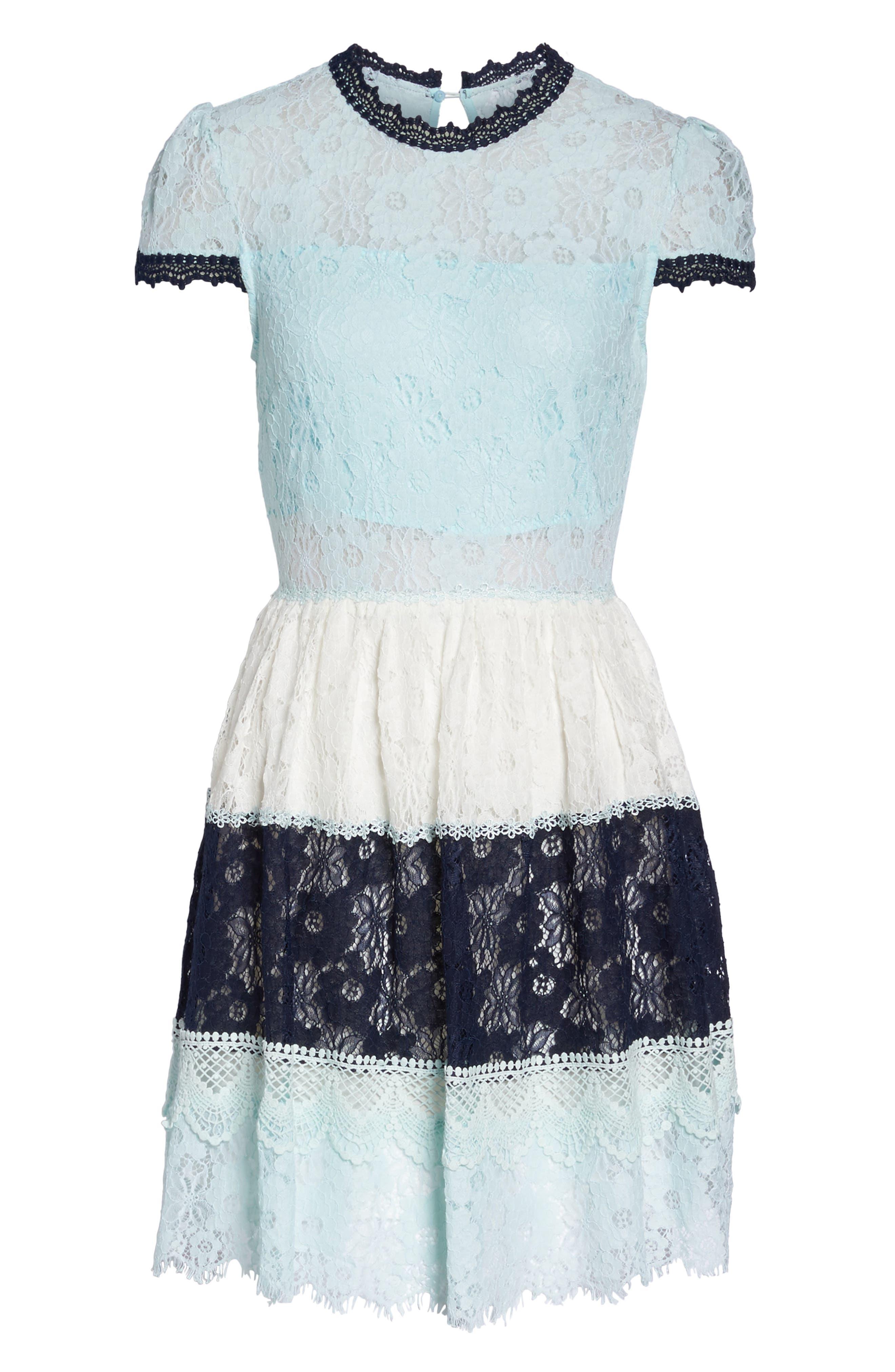 Amelia Lace Fit & Flare Dress,                             Alternate thumbnail 6, color,                             Sky Block